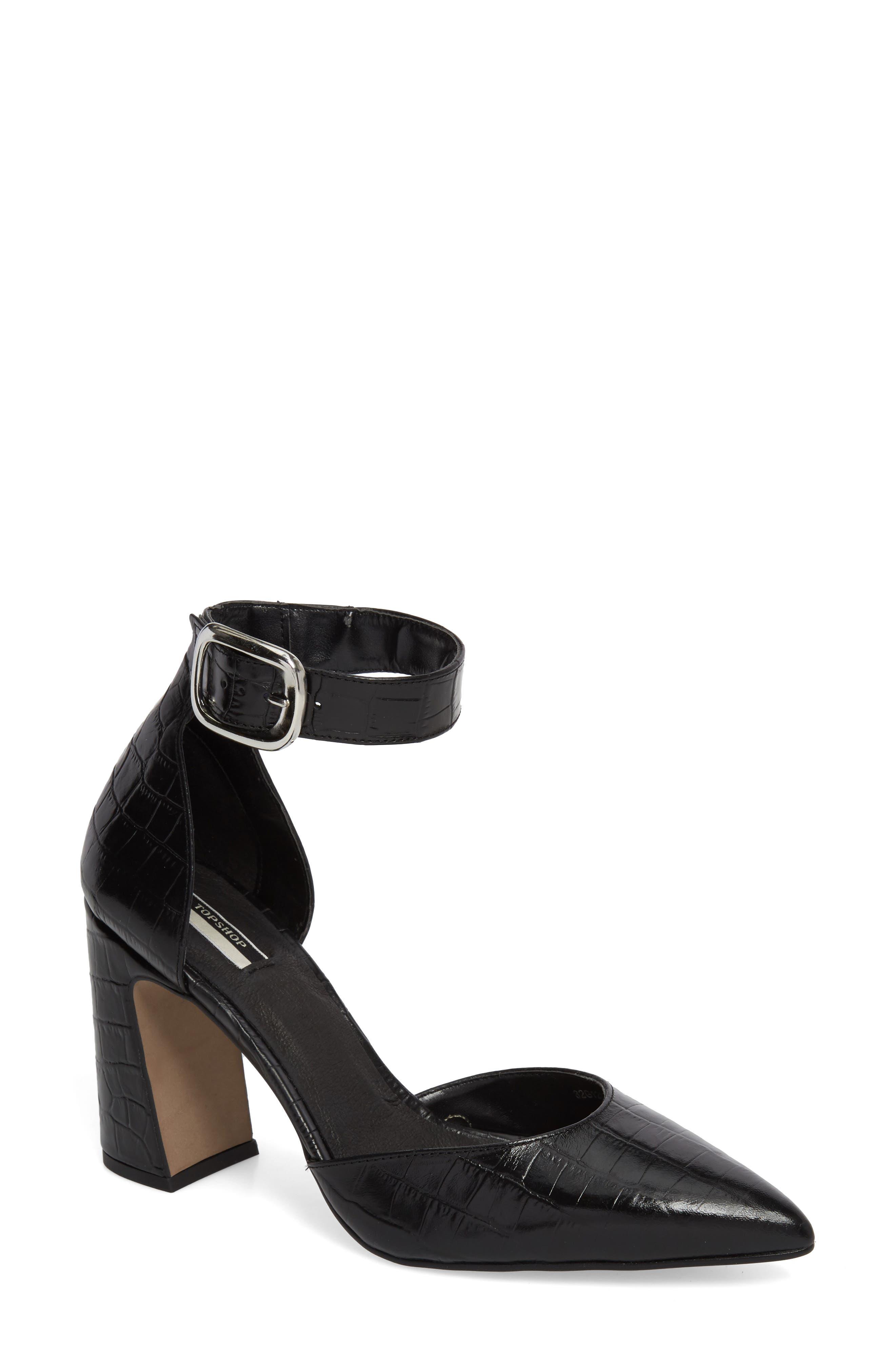 Geisha Ankle Strap Pump,                         Main,                         color, Black