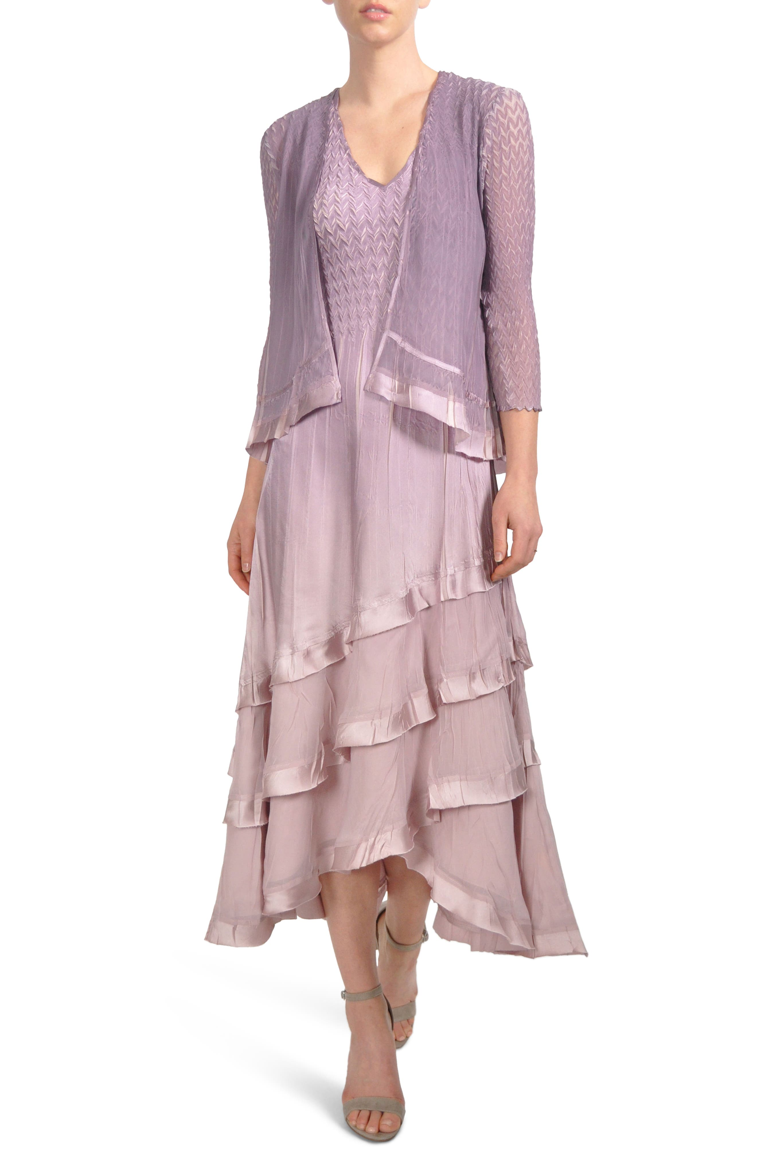 Tiered Hem Dress with Jacket,                             Main thumbnail 1, color,                             Lotus Orchid Ombre
