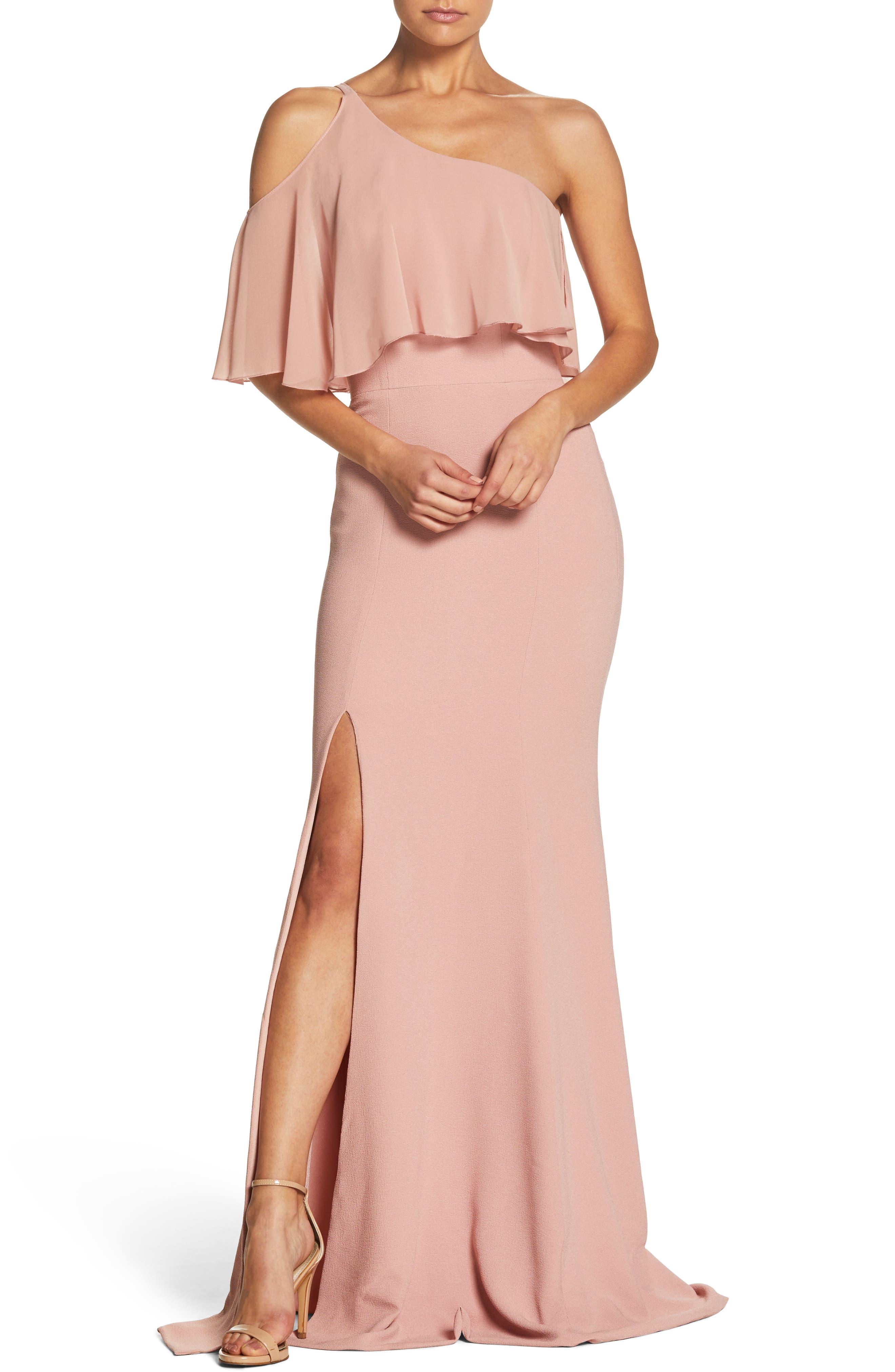 Faith One-Shoulder Flounce Crepe Gown,                         Main,                         color, Blush