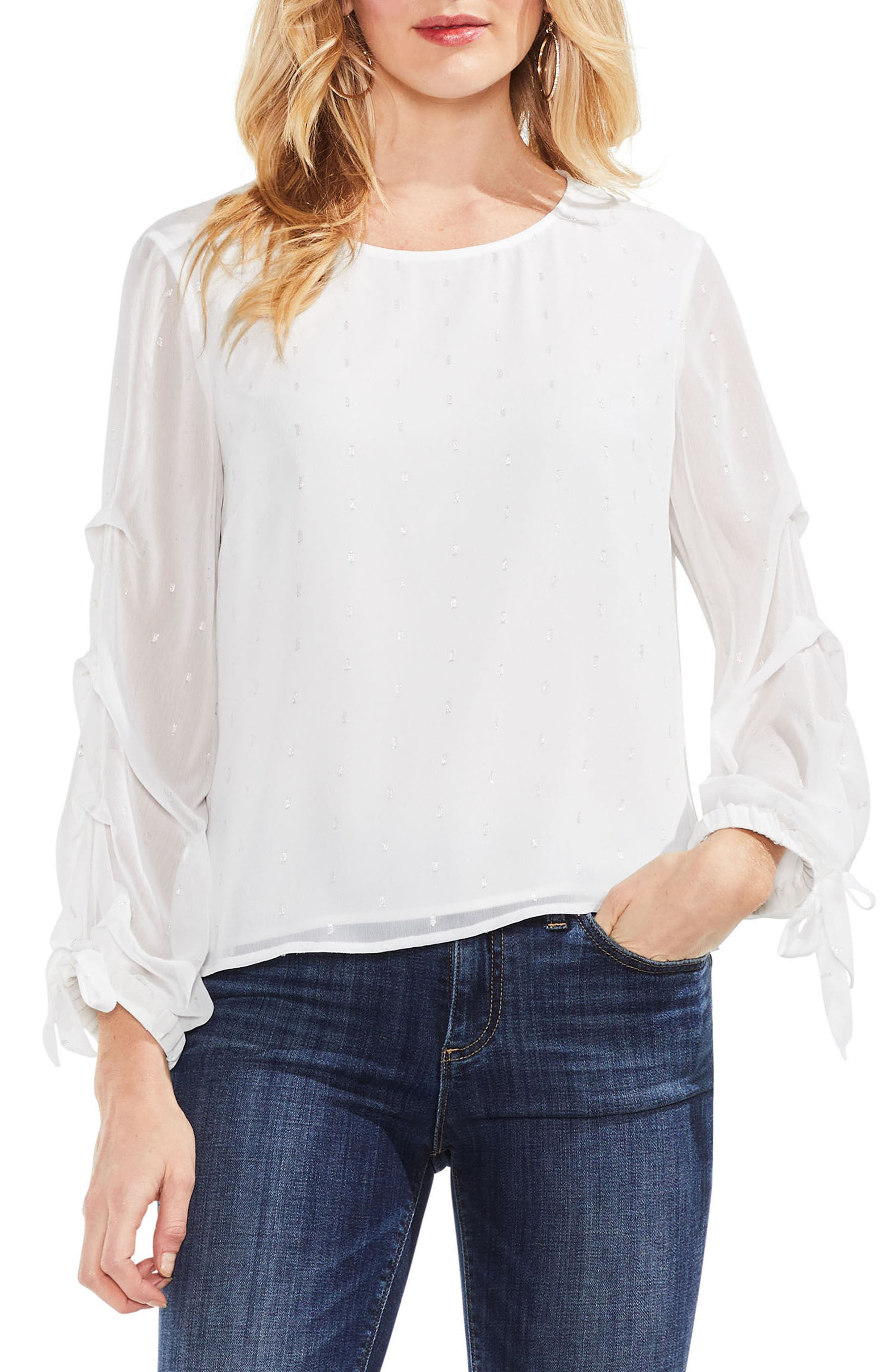 Tiered Sleeve Metallic Clip Dot Blouse,                         Main,                         color, New Ivory