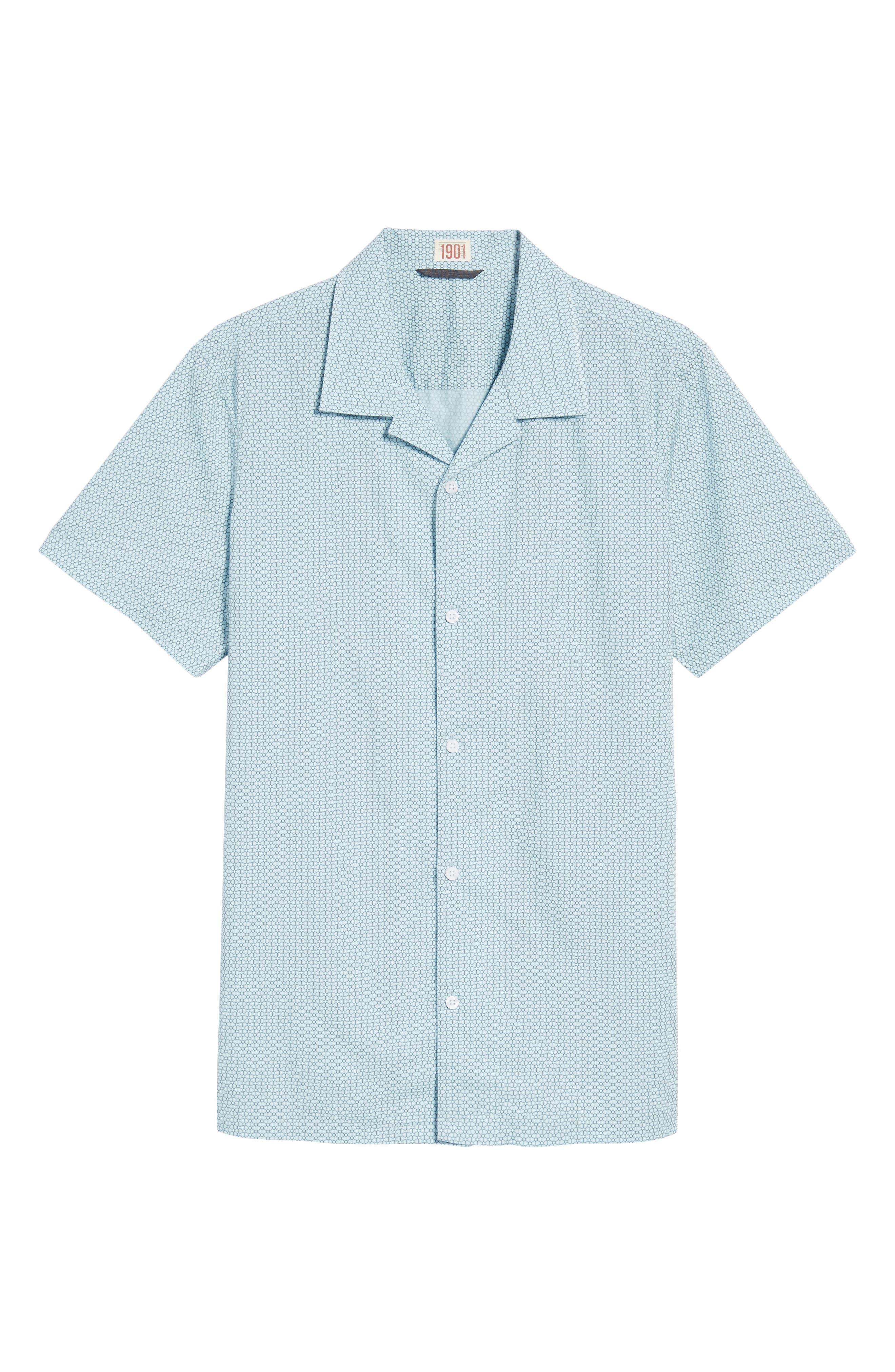 Trim Fit Stretch Geometric Camp Shirt,                             Alternate thumbnail 6, color,                             Blue Orydalis Honeycomb