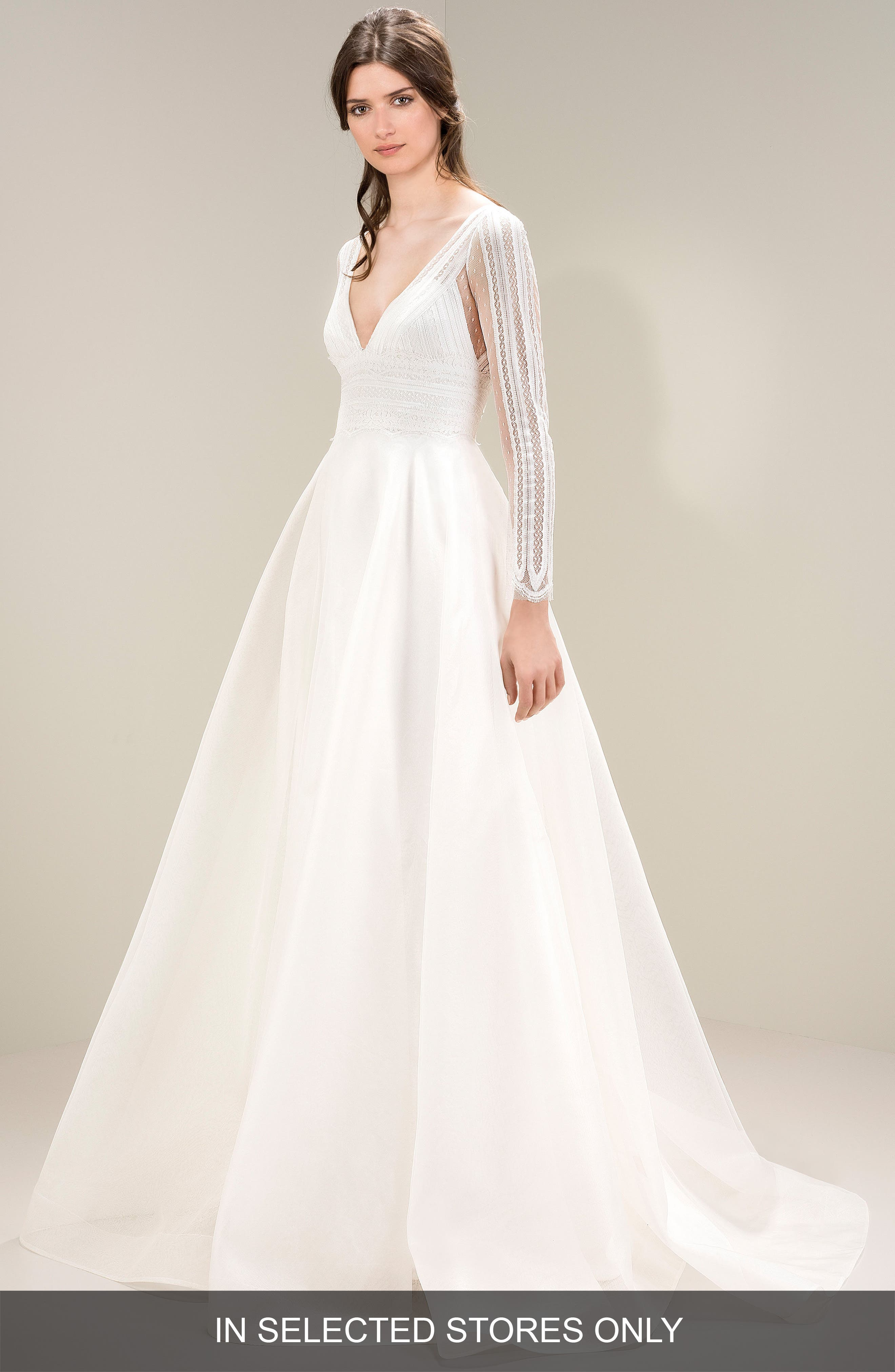 Chantilly Lace Gown,                         Main,                         color, Ivory