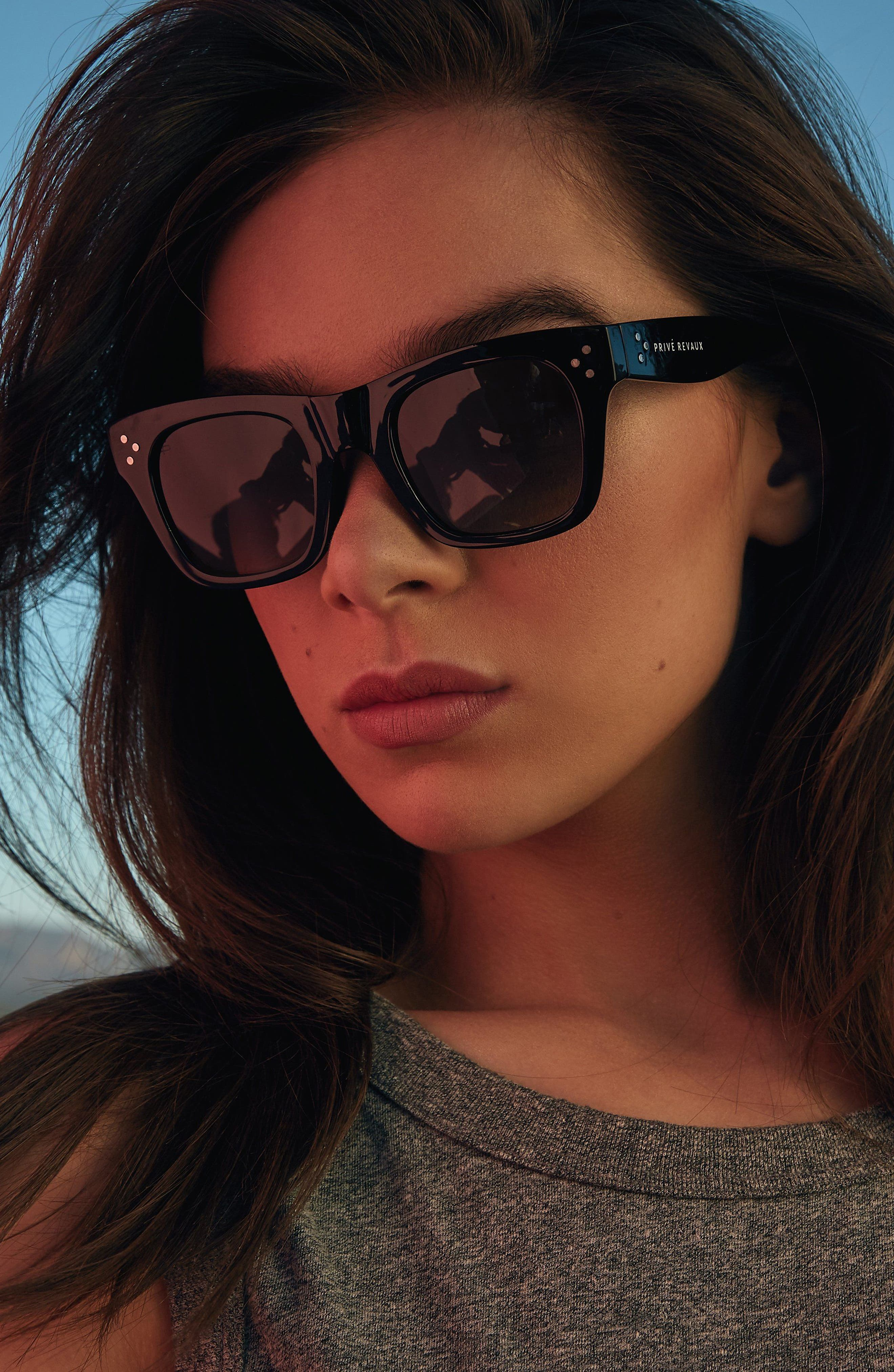 Privé Revaux The Classic 51mm Polarized Square Sunglasses,                             Alternate thumbnail 3, color,                             Black