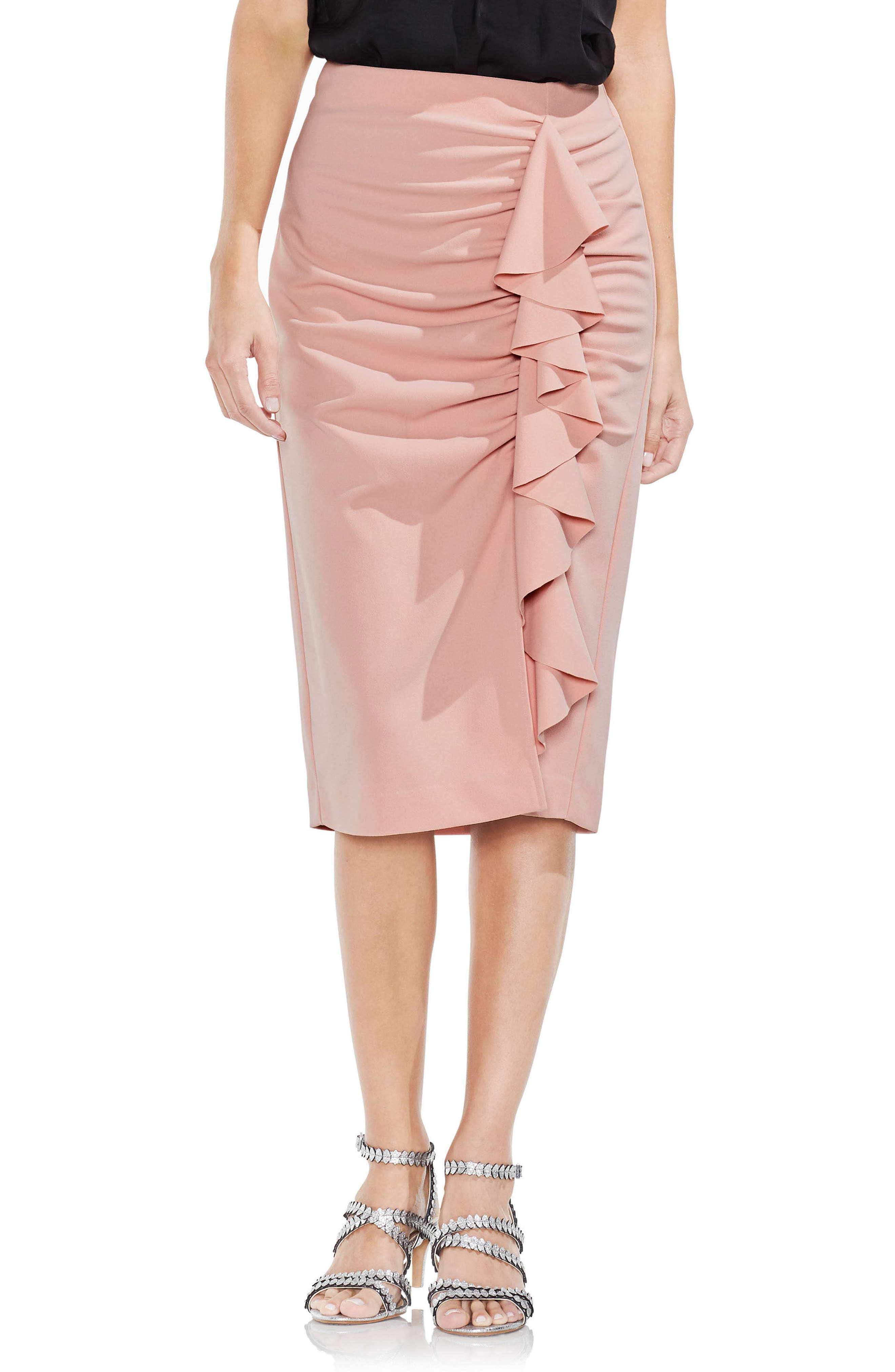 Ruffle Front Ponte Knit Pencil Skirt,                         Main,                         color, Wild Rose