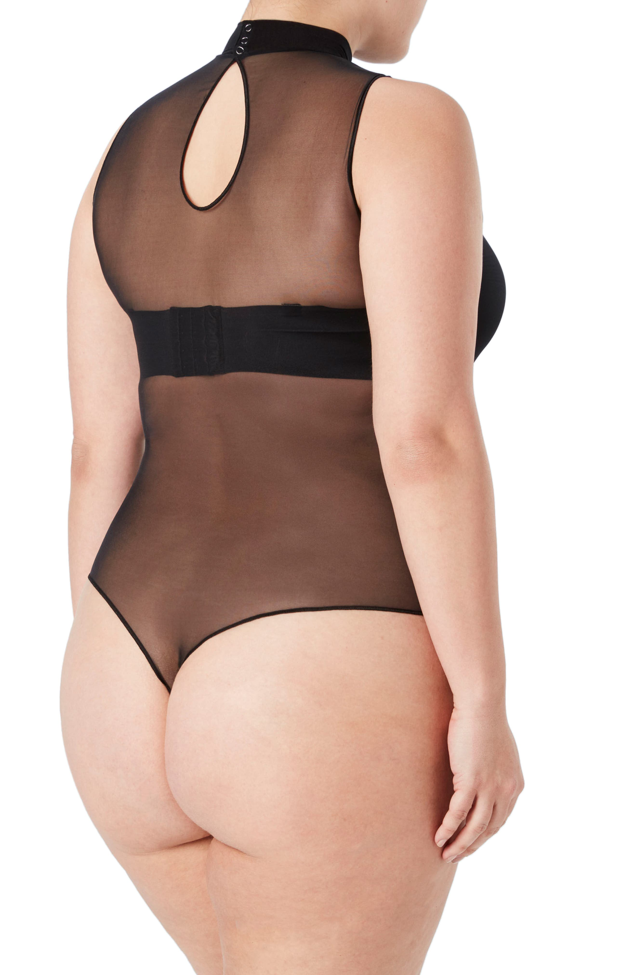 Sheer Fashion Mock Neck Thong Smoother Bodysuit,                             Alternate thumbnail 2, color,                             Very Black