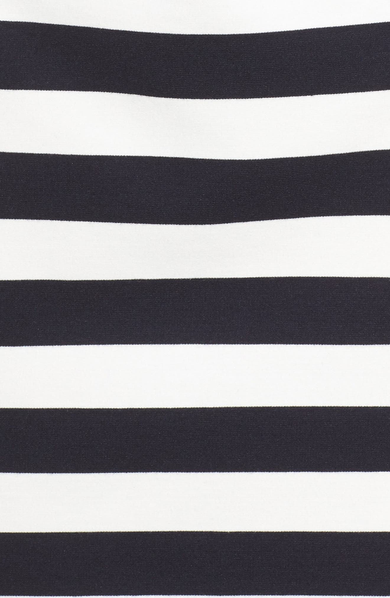 Stripe Ruffle Sheath Dress,                             Alternate thumbnail 5, color,                             Navy/ Ivory