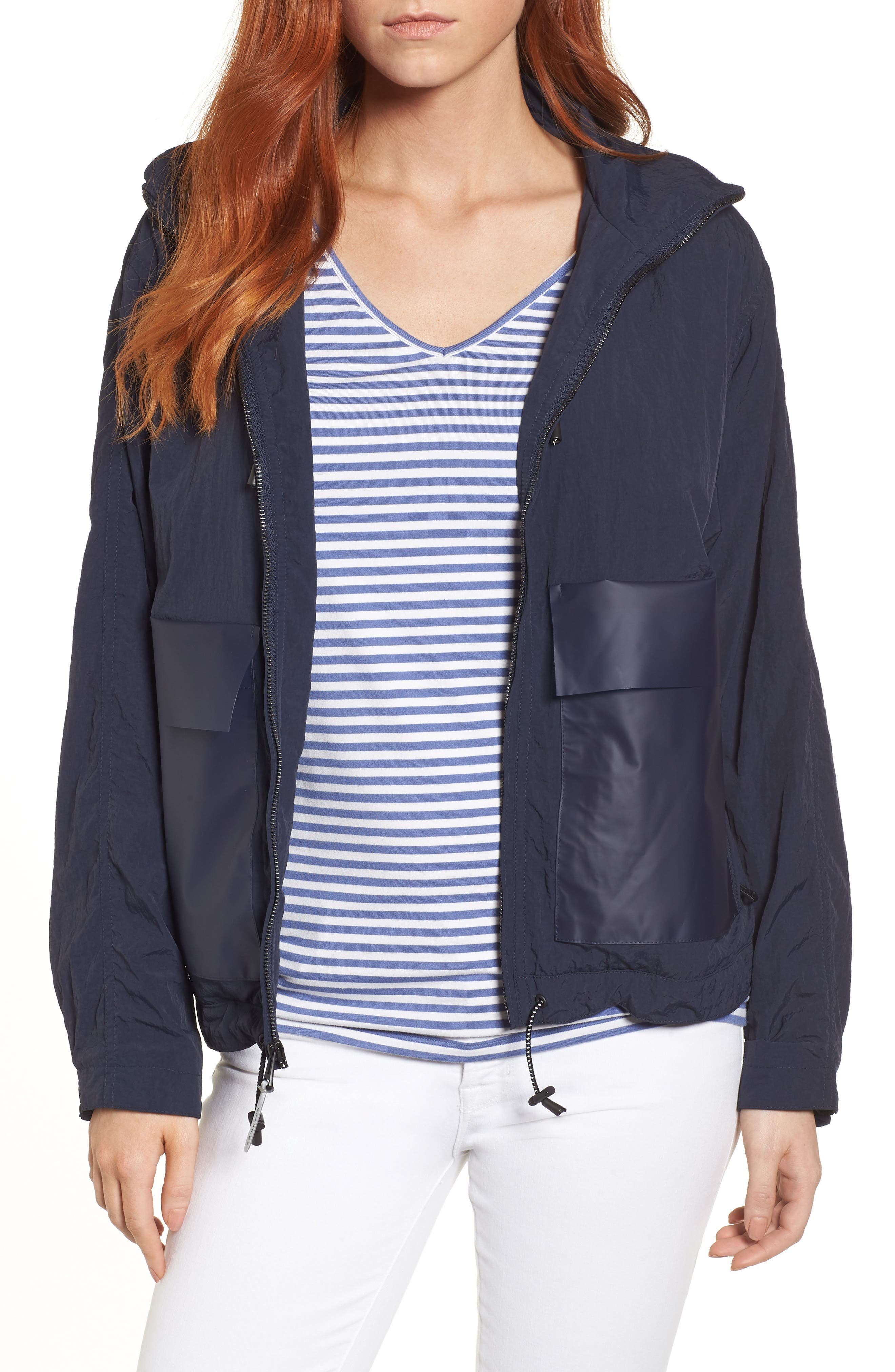 Lightweight Hooded Anorak,                         Main,                         color, Navy