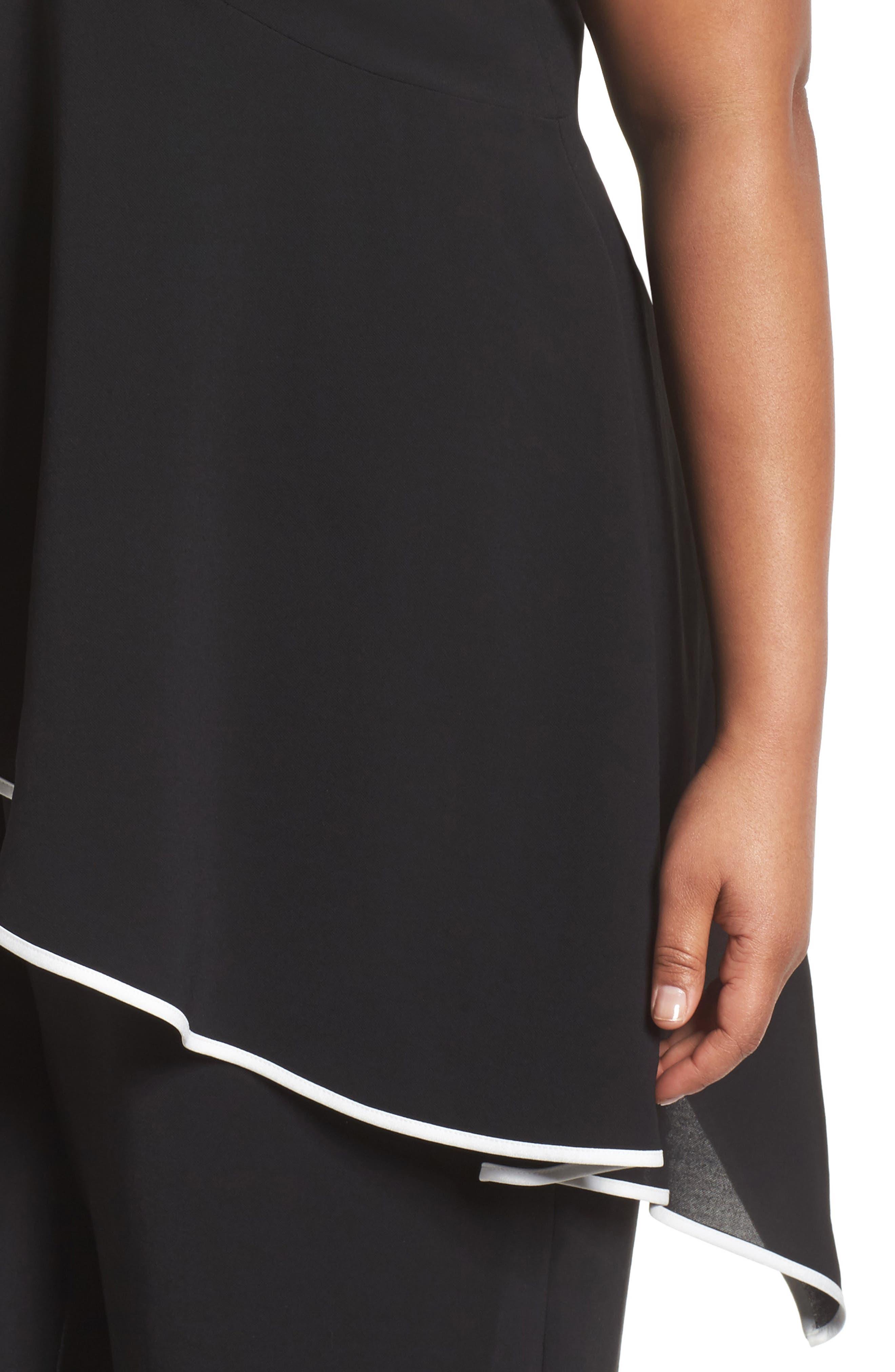 Contrast Trim Crop Jumpsuit,                             Alternate thumbnail 4, color,                             Black/ Ivory
