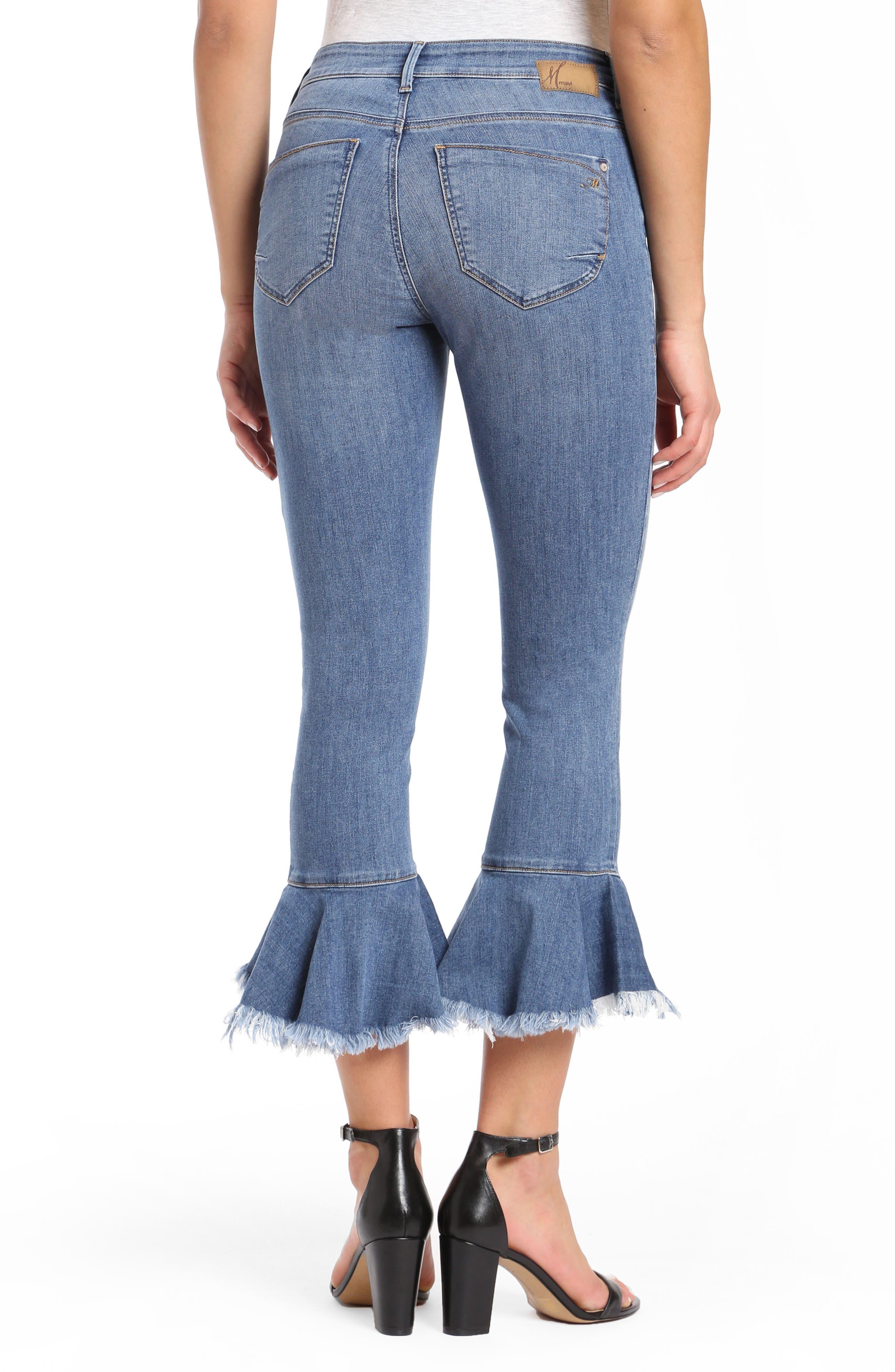 Mavi Tessa Super Skinny Flounce Hem Jeans,                             Alternate thumbnail 2, color,                             Mid Brushed Cheeky