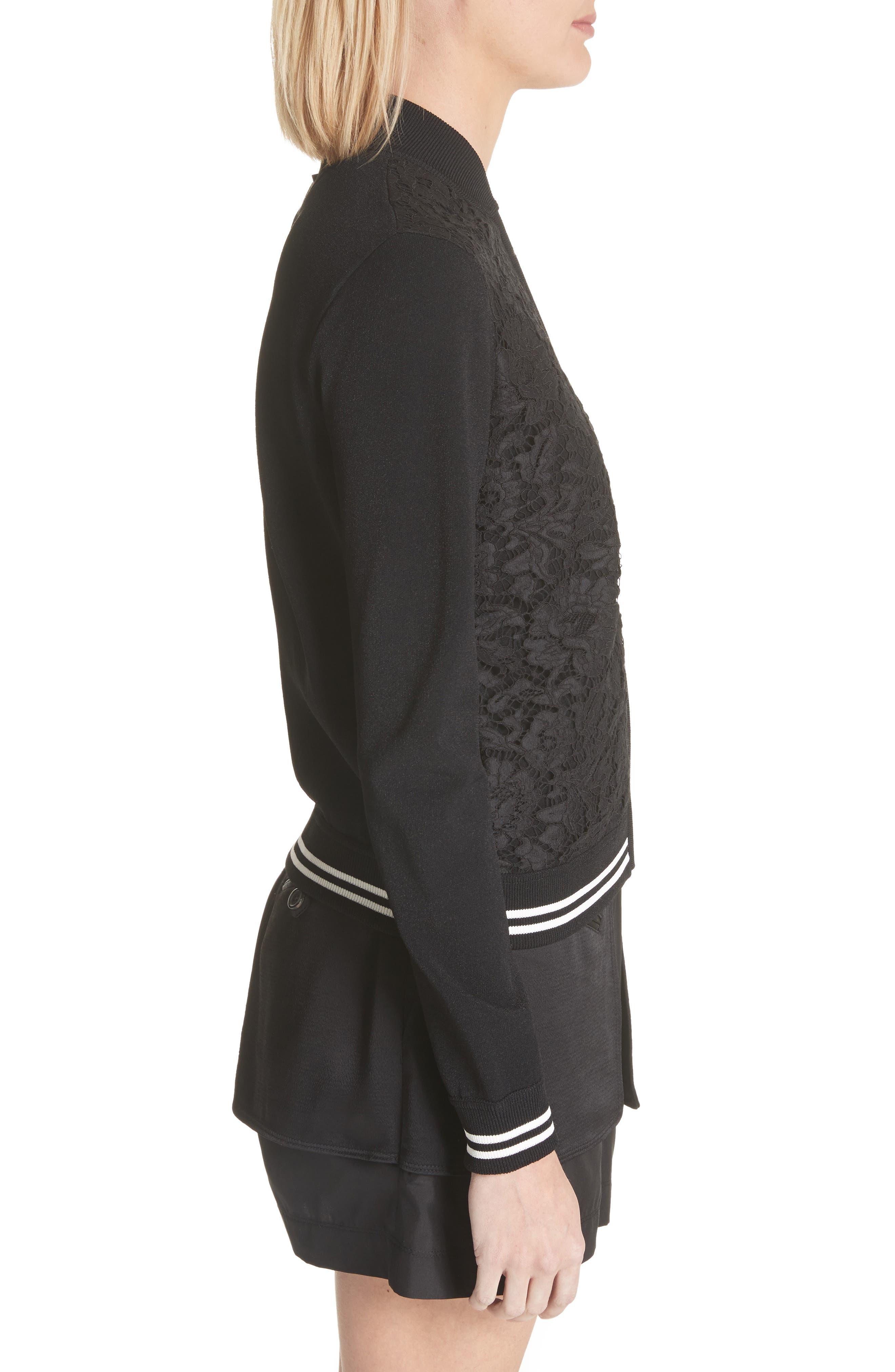 Lace Front Bomber Jacket,                             Alternate thumbnail 3, color,                             Black