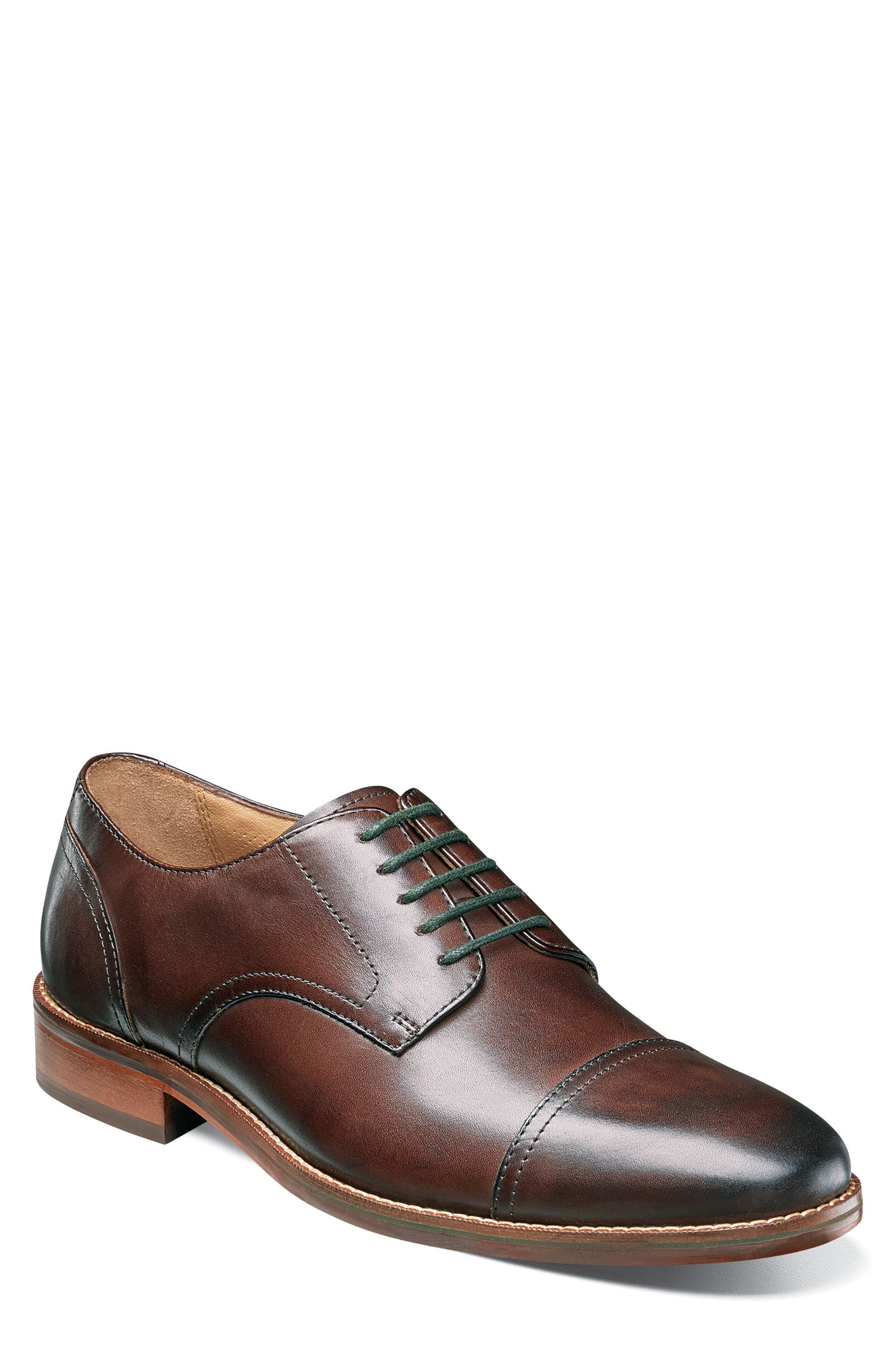 Salerno Cap Toe Derby,                         Main,                         color, Brown Leather