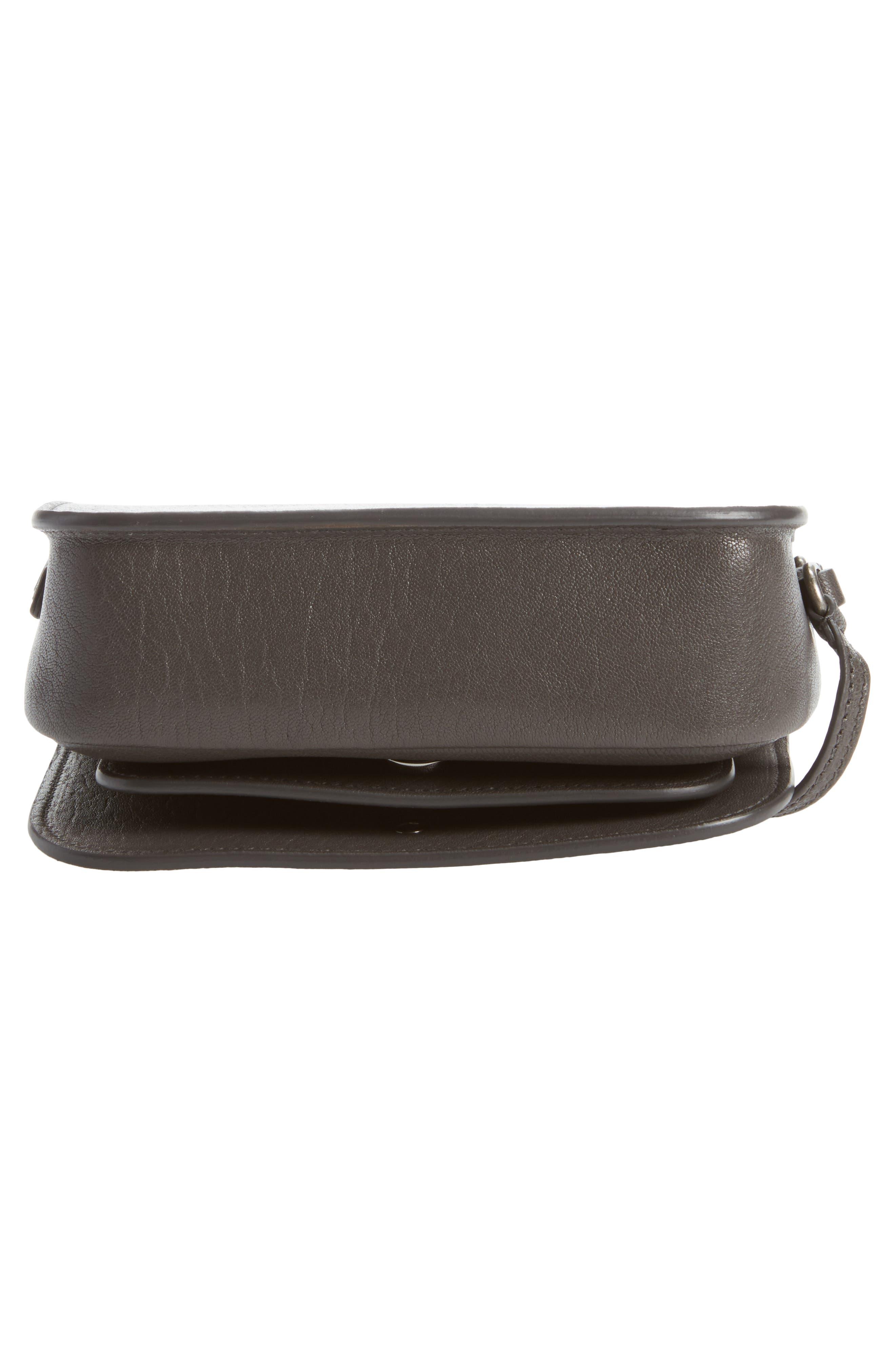 Calfskin Leather Crossbody Bag,                             Alternate thumbnail 6, color,                             Asphalt