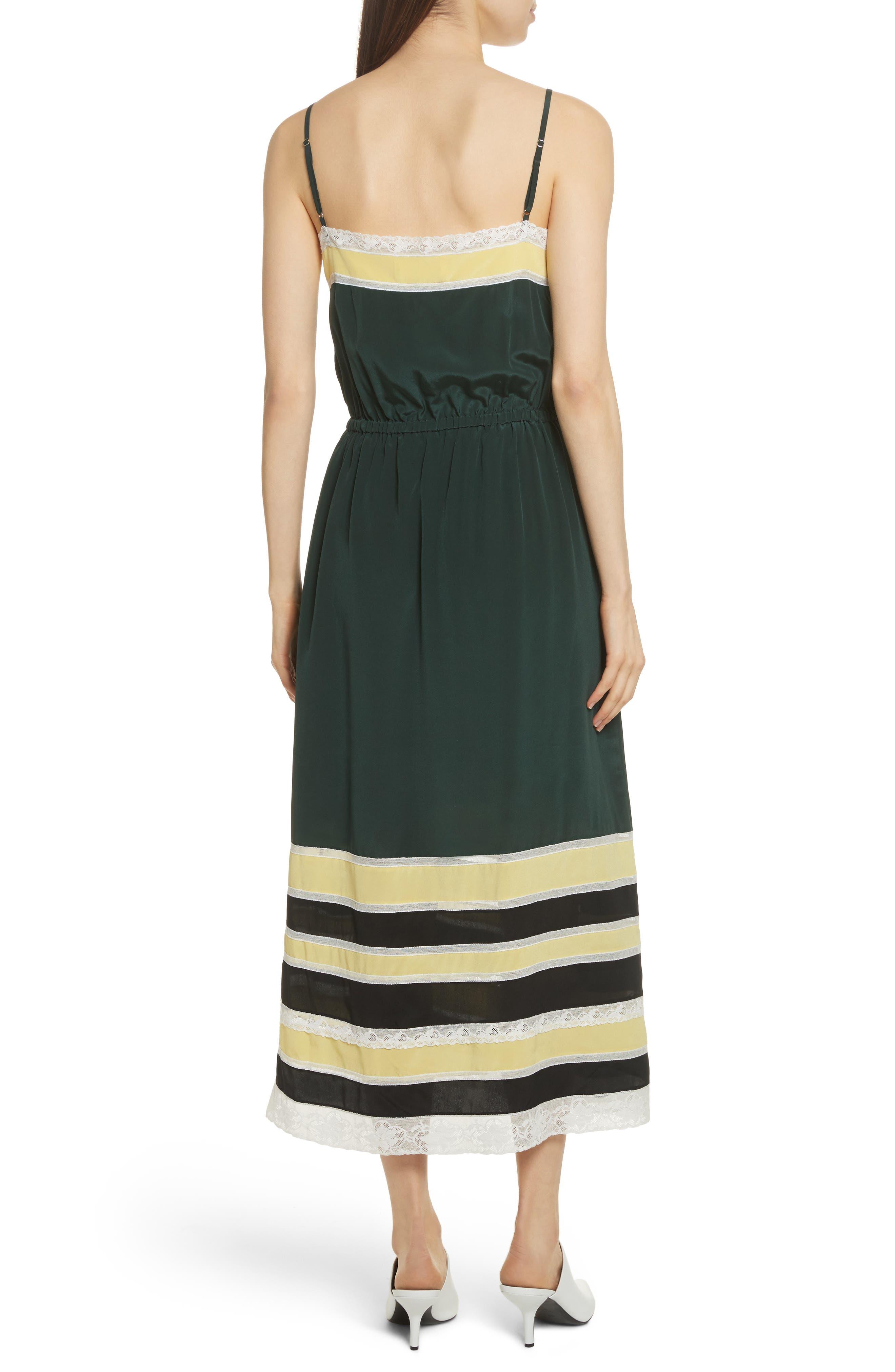 Lace Trim Silk Slipdress,                             Alternate thumbnail 2, color,                             Green Combo