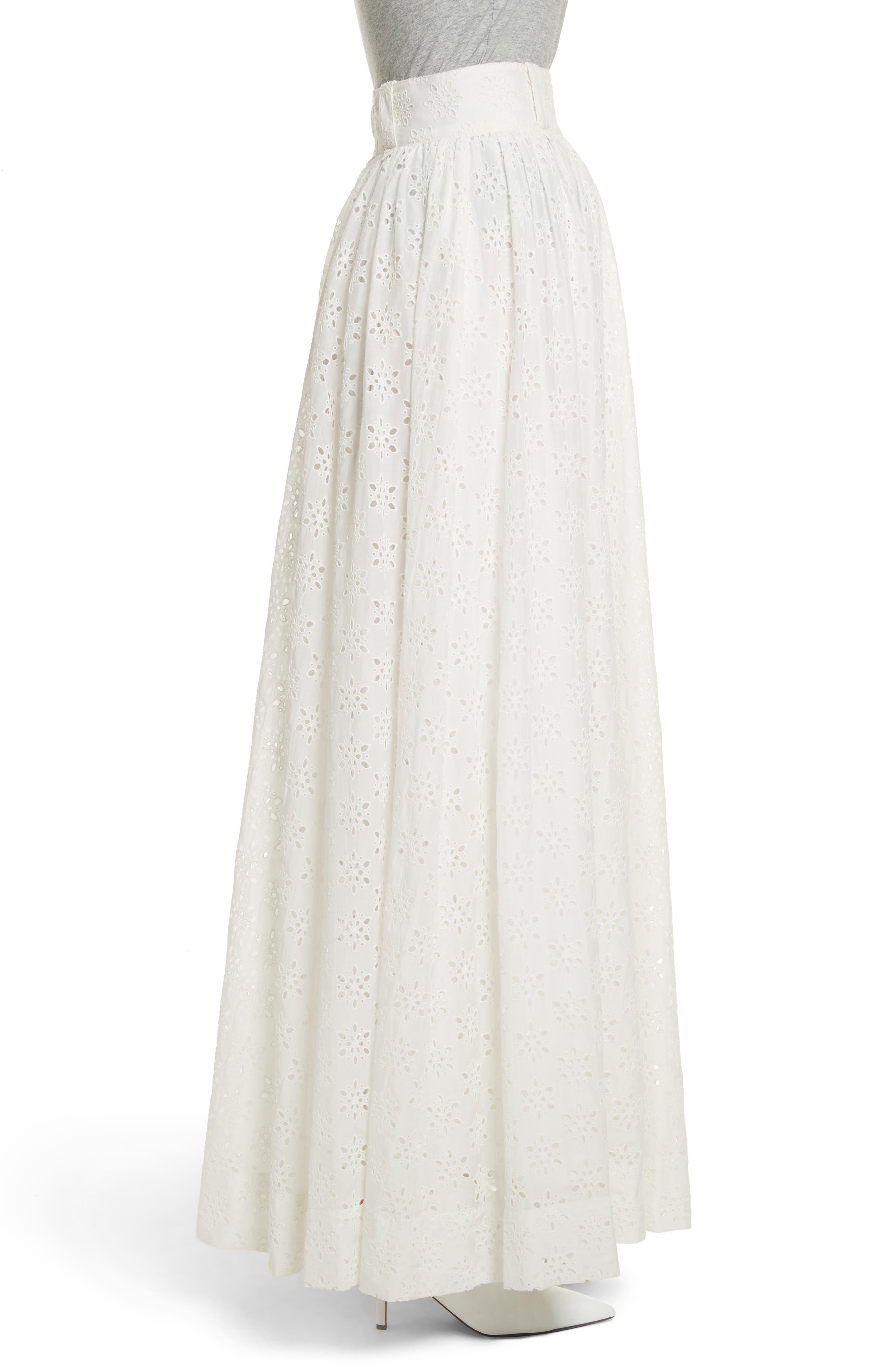Eyelet Maxi Skirt,                             Alternate thumbnail 4, color,                             Ivory