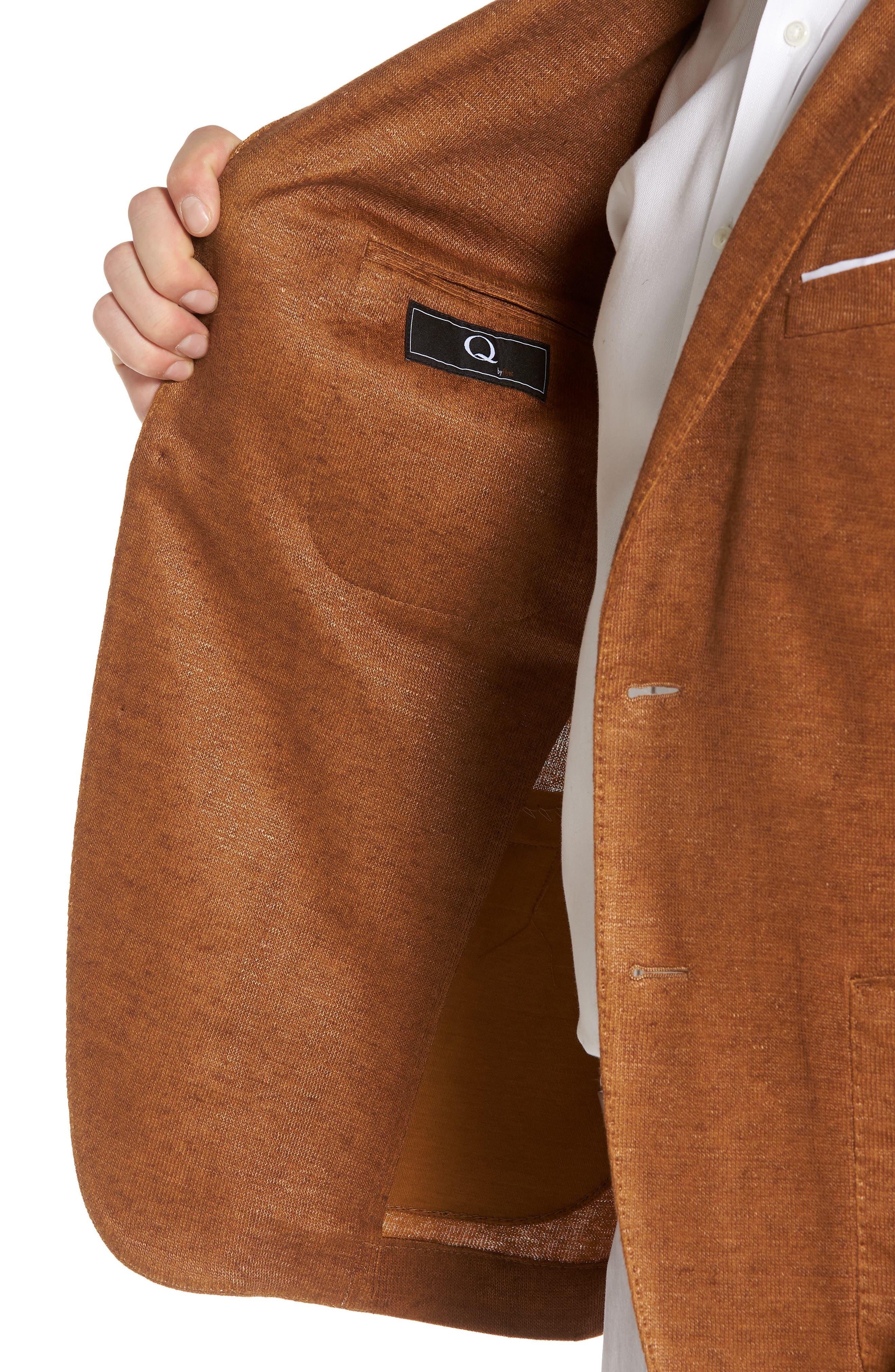 Trim Fit Heathered Jersey Blazer,                             Alternate thumbnail 4, color,                             Burnt Sienna