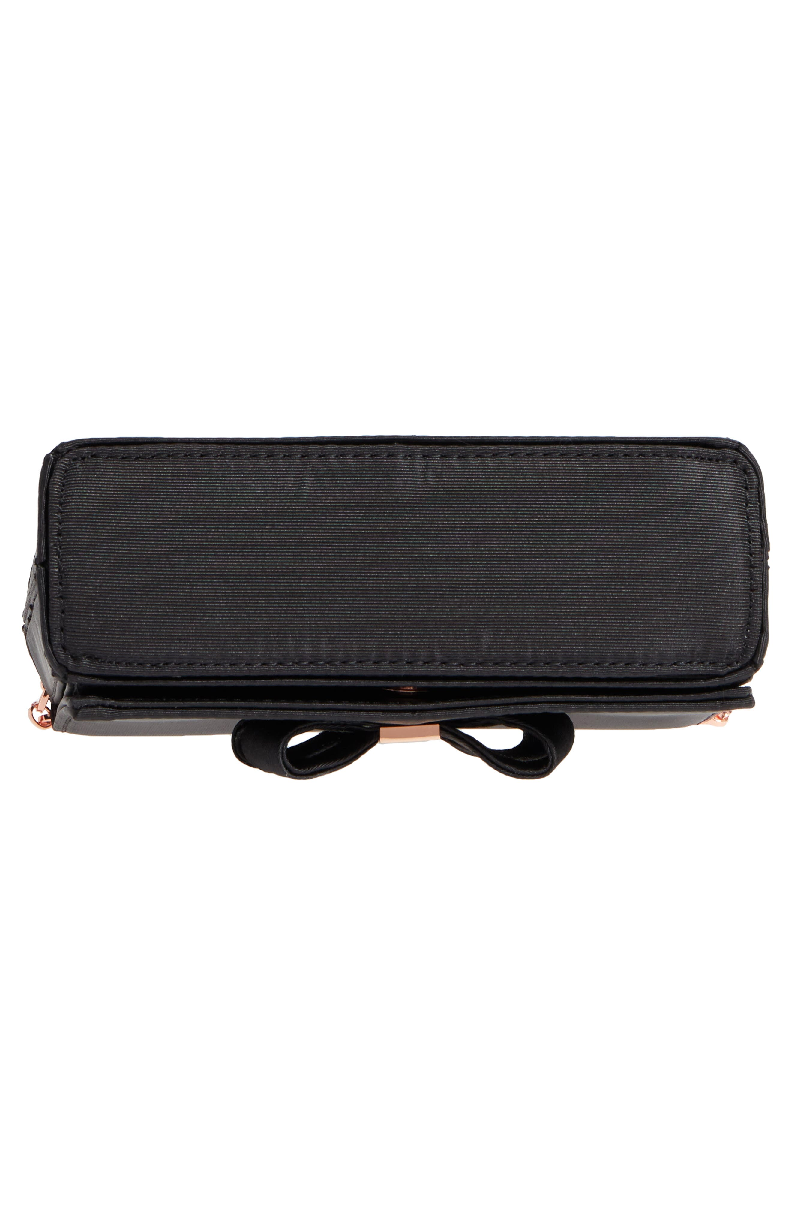 Looped Bow Clutch,                             Alternate thumbnail 6, color,                             Black