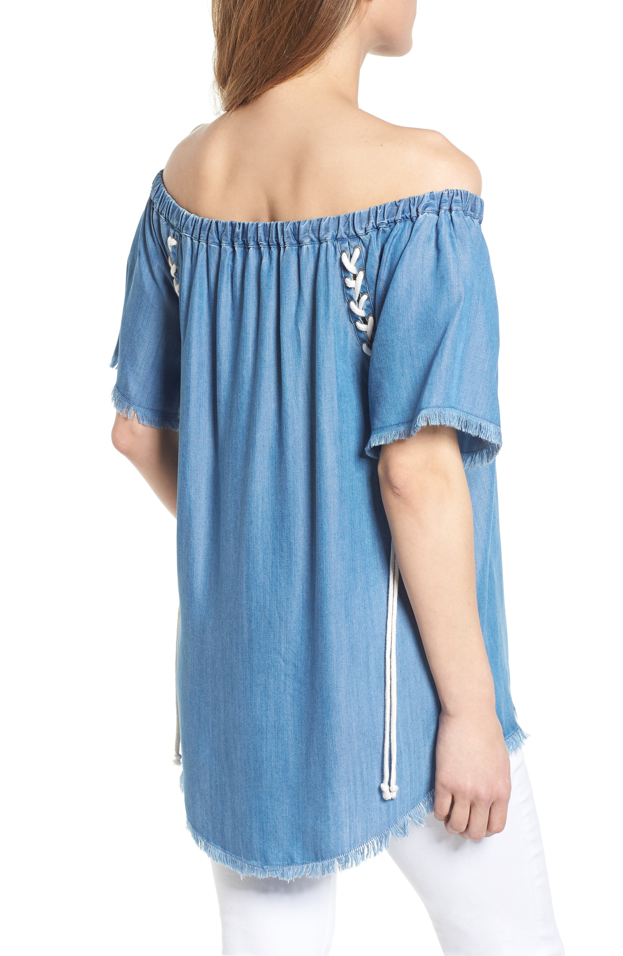 Lace-Up Side Off the Shoulder Top,                             Alternate thumbnail 2, color,                             Blue
