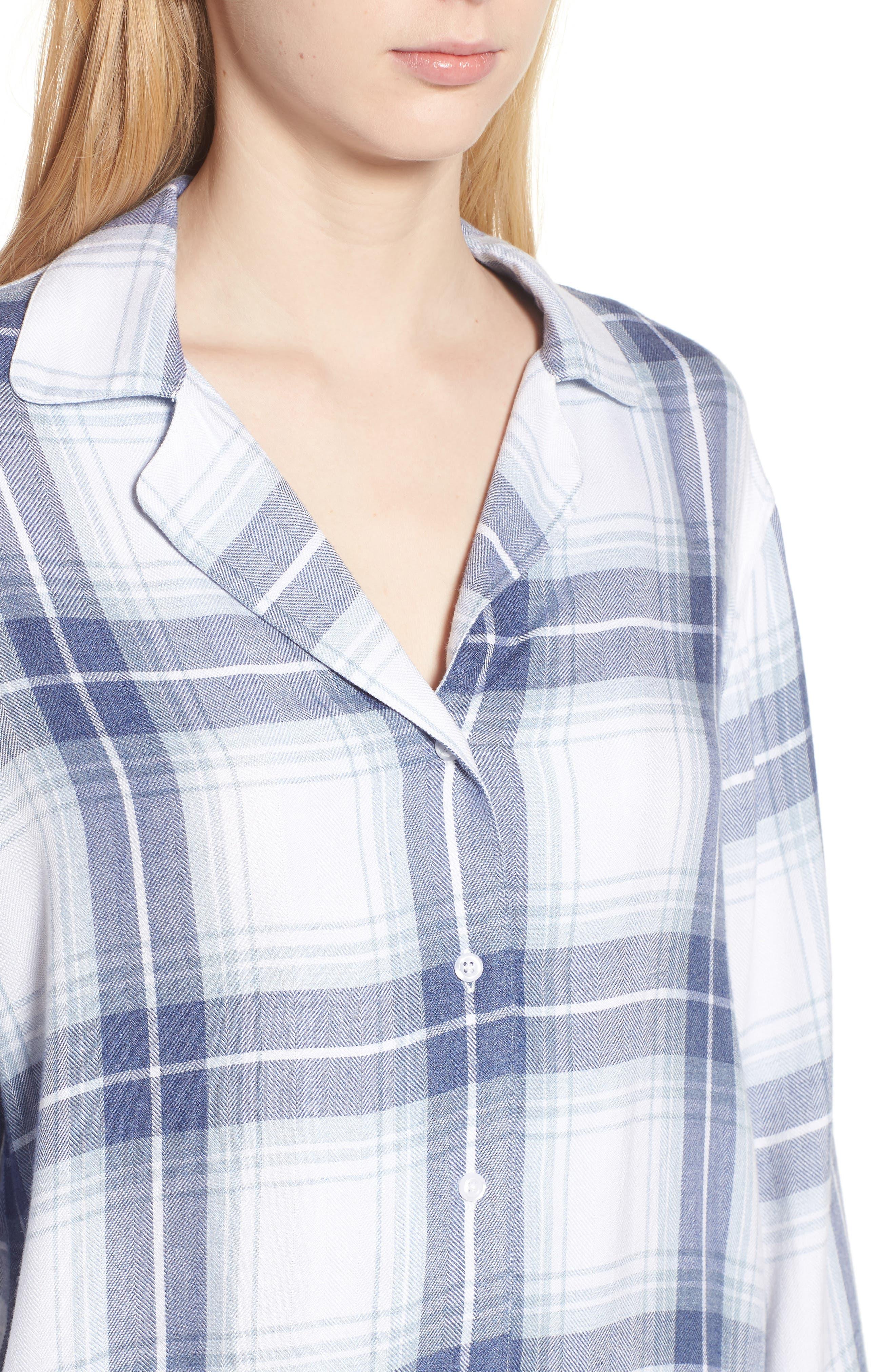 Plaid Pajamas,                             Alternate thumbnail 5, color,                             Pacific Sky White