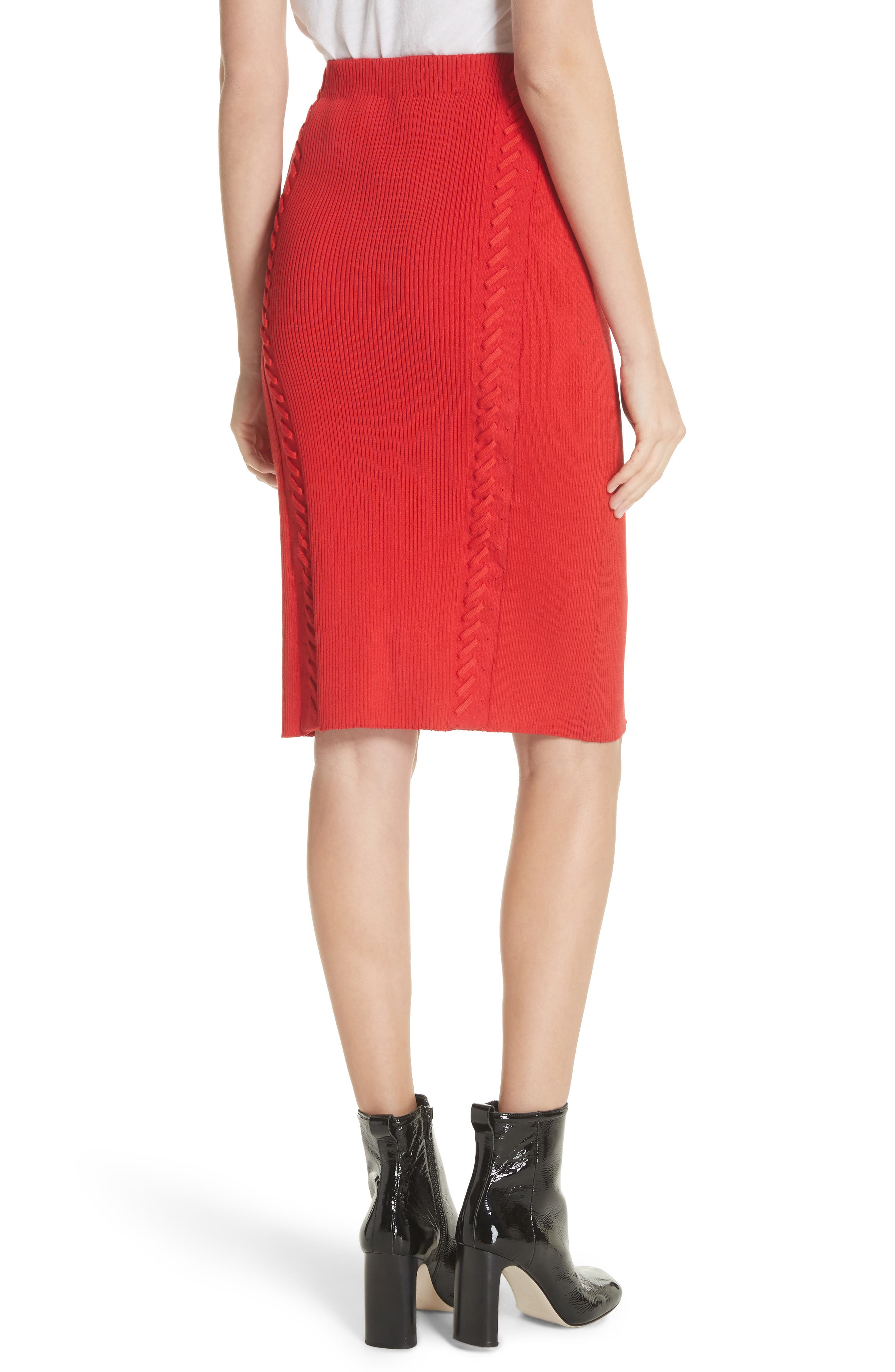 Brandy Whipstitch Pencil Skirt,                             Alternate thumbnail 2, color,                             Red