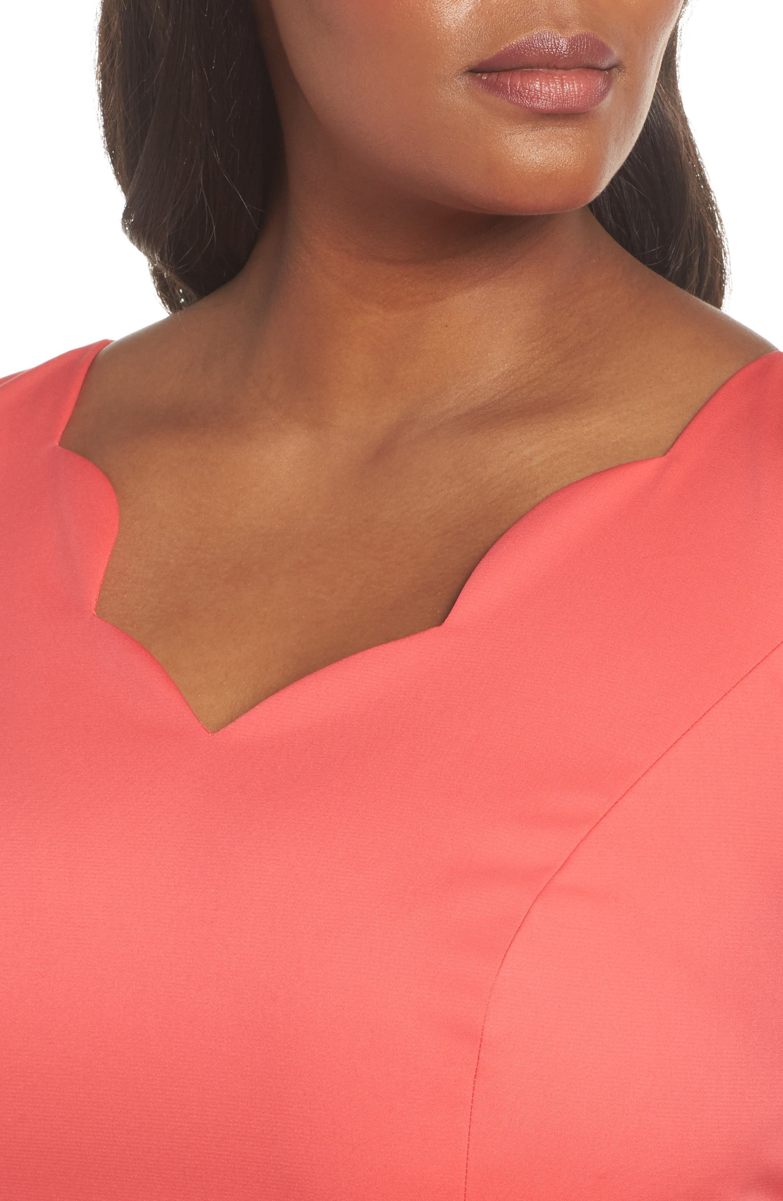Scalloped A-Line Dress,                             Alternate thumbnail 4, color,                             Strawberry Pink