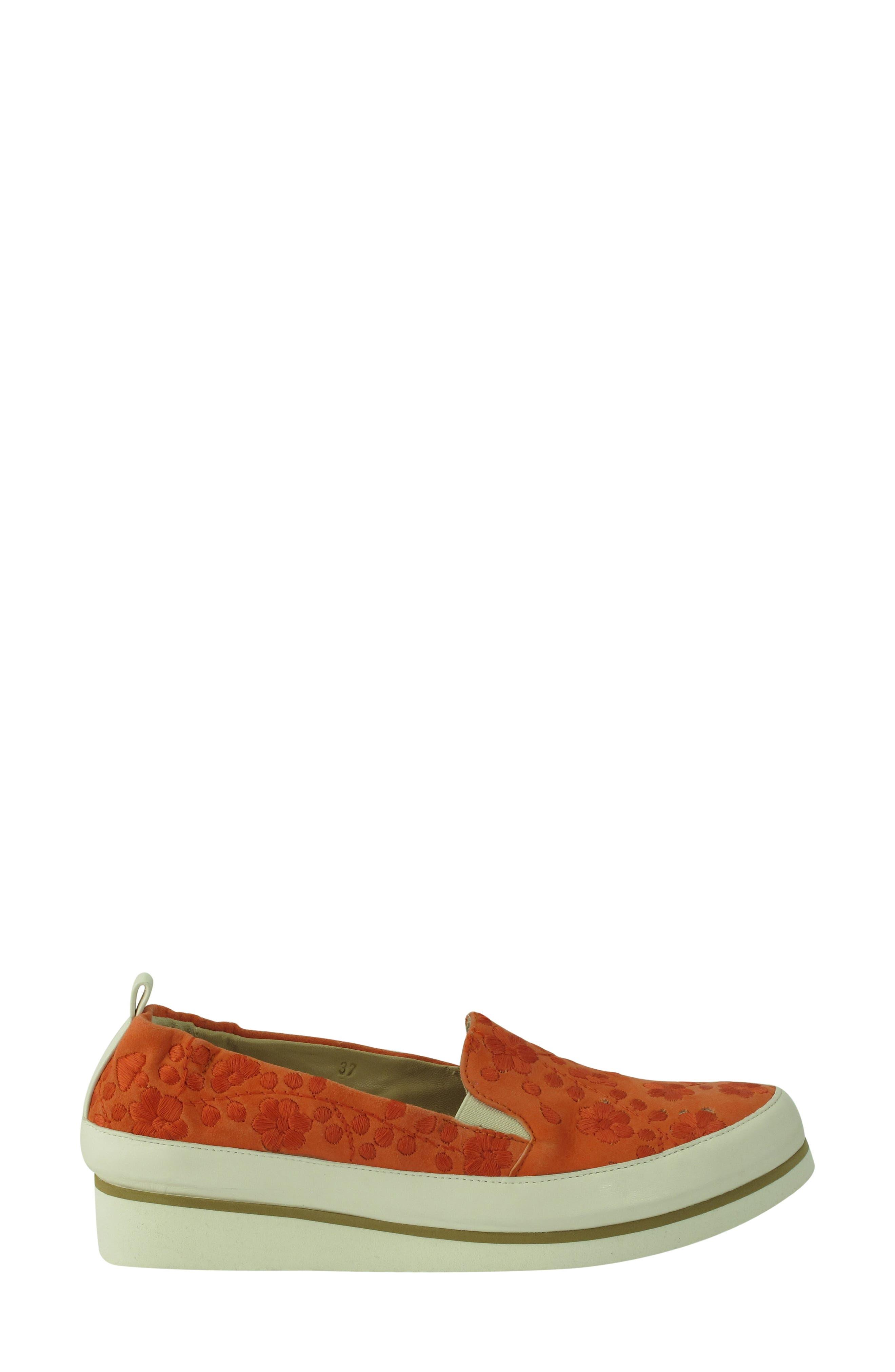 Nell Slip-On Sneaker,                             Alternate thumbnail 5, color,                             Tangerine Suede
