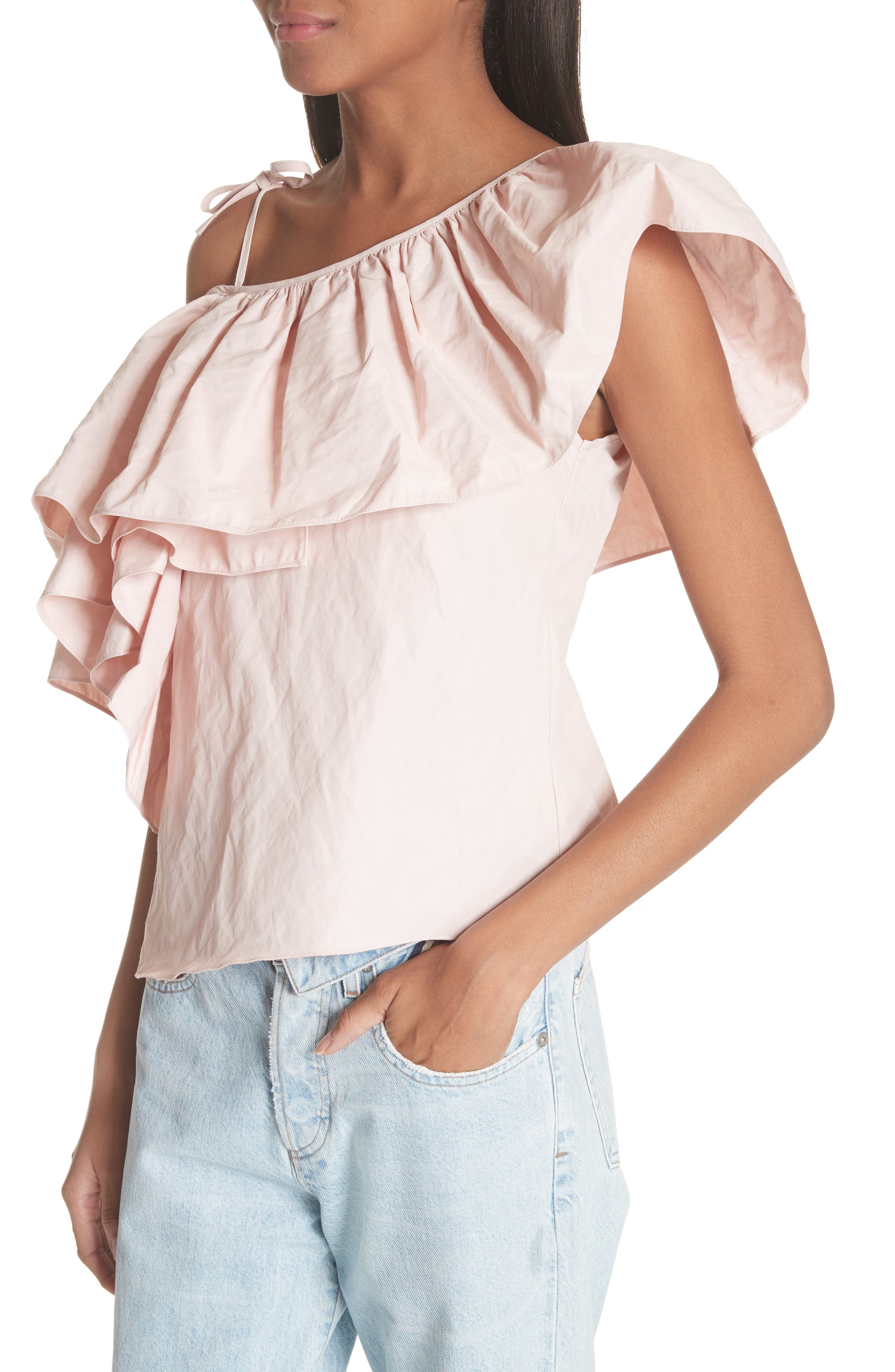 Marques'Almeida One Shoulder Ruffle Top,                             Alternate thumbnail 4, color,                             Pale Pink