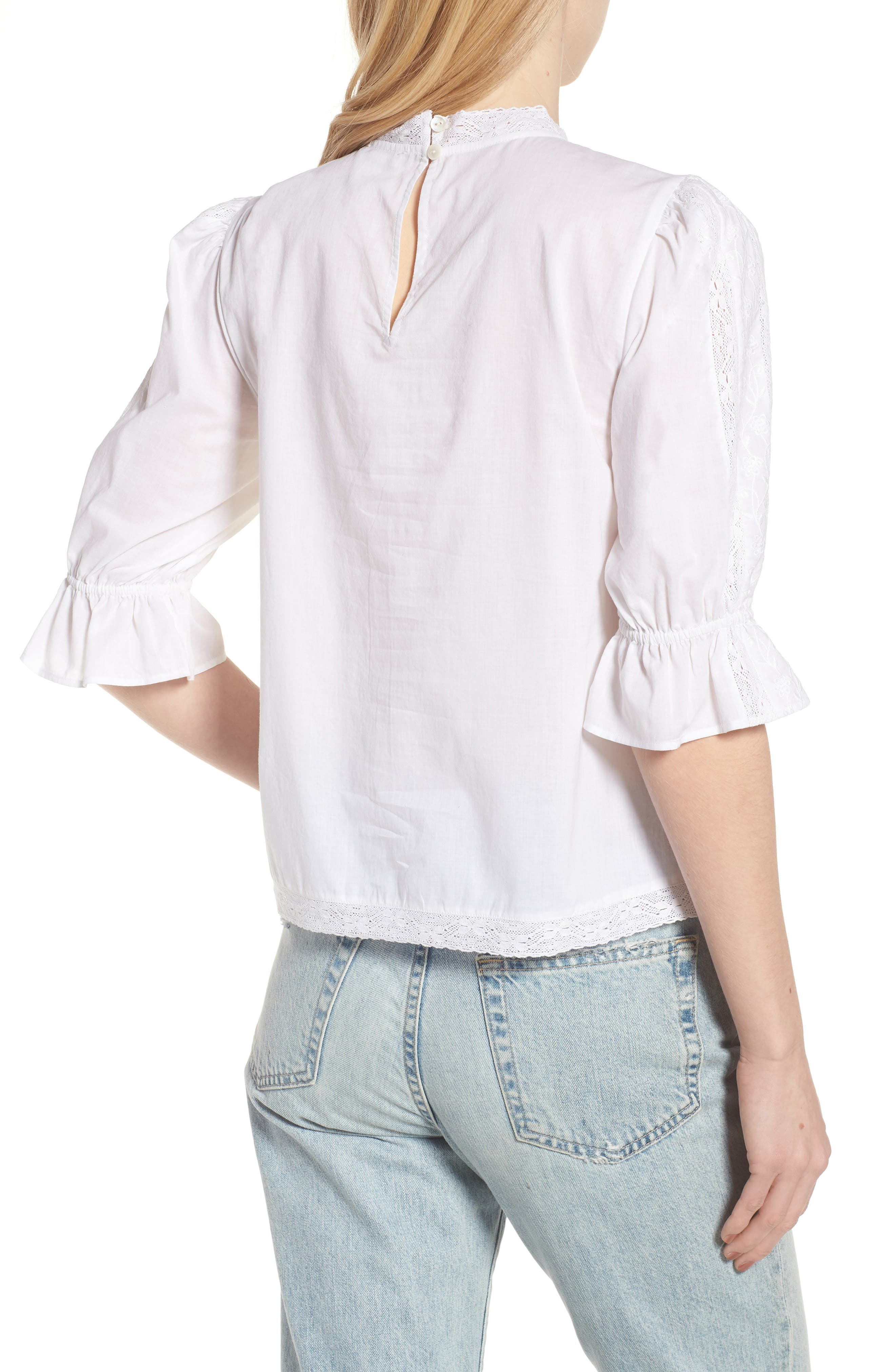 Embroidered Lace Top,                             Alternate thumbnail 2, color,                             White