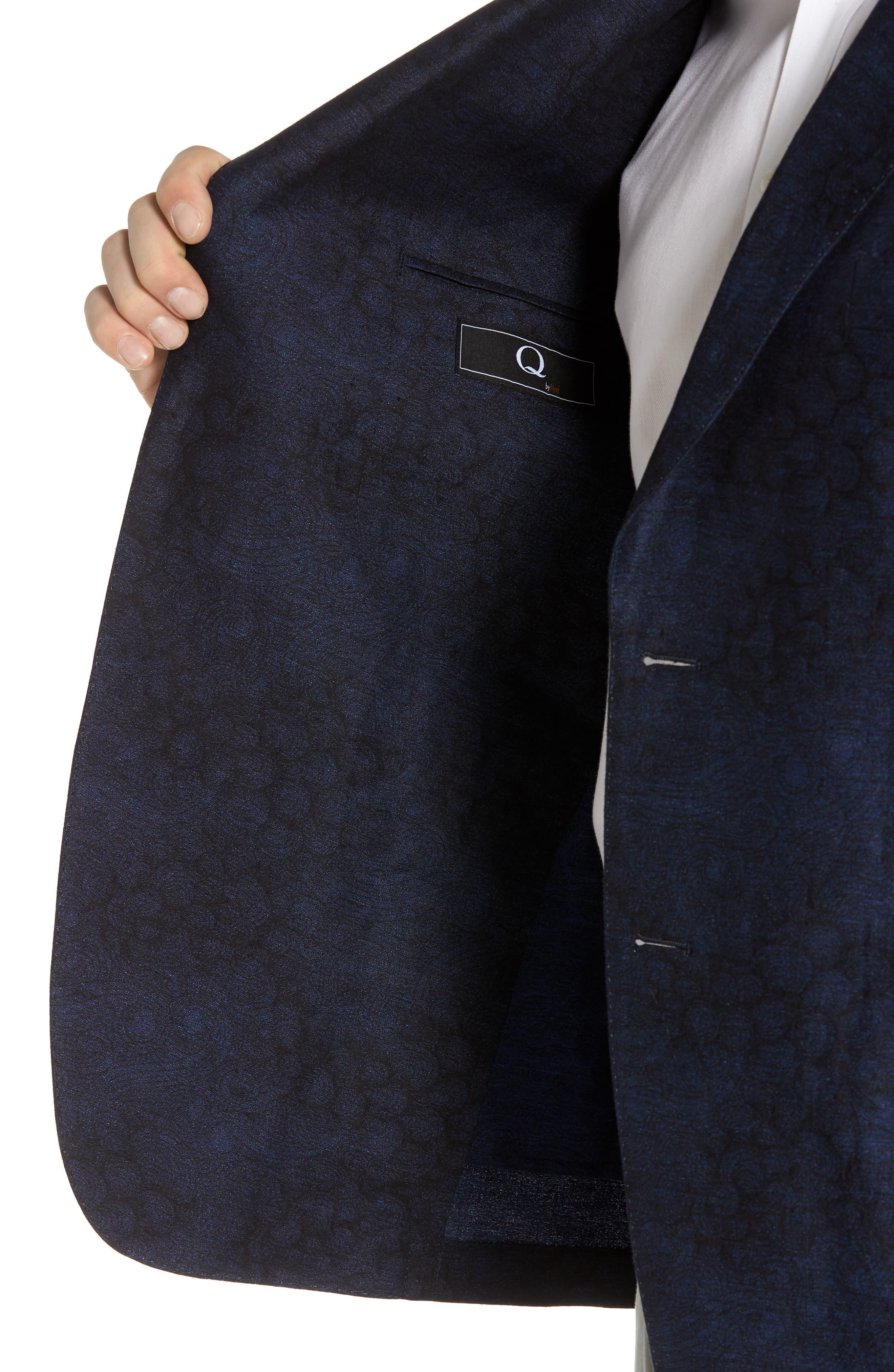 Slim Fit Patterned Linen Blend Sport Coat,                             Alternate thumbnail 4, color,                             Indigo Blue