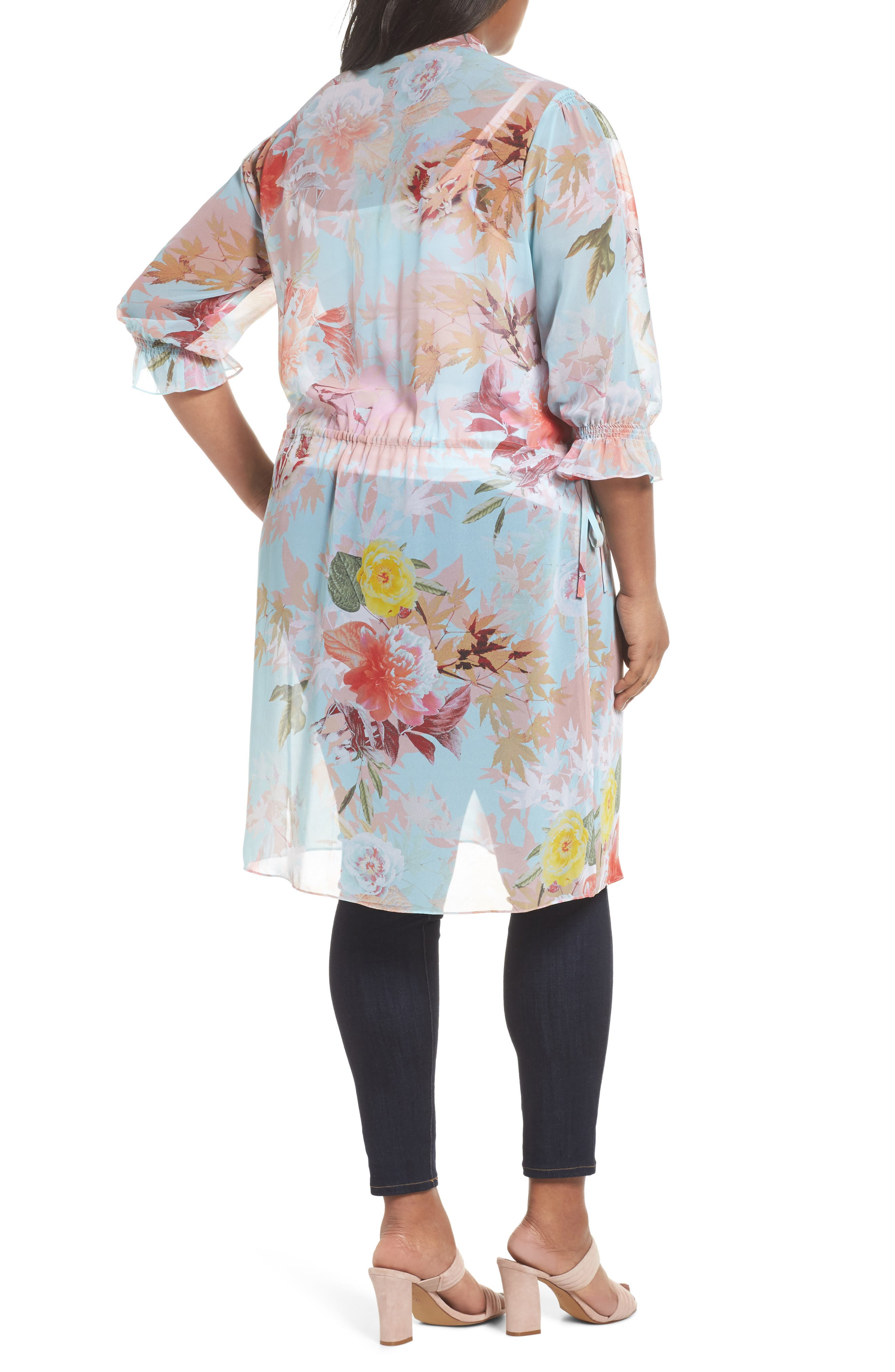 Faded Blooms Tunic Dress,                             Alternate thumbnail 3, color,                             Aqua Glow