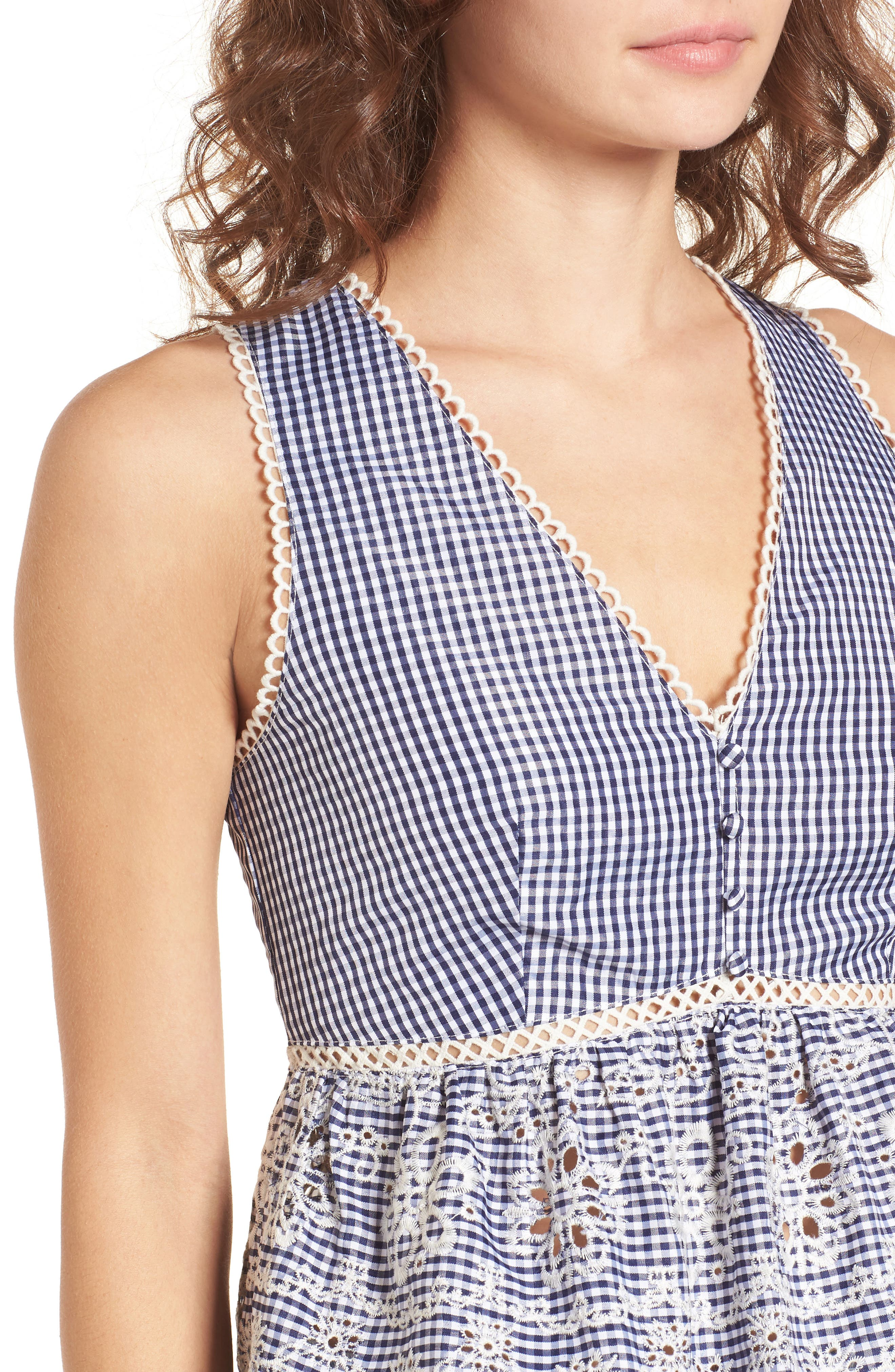 Embroidered Gingham Crop Top,                             Alternate thumbnail 5, color,                             Navy Gingham