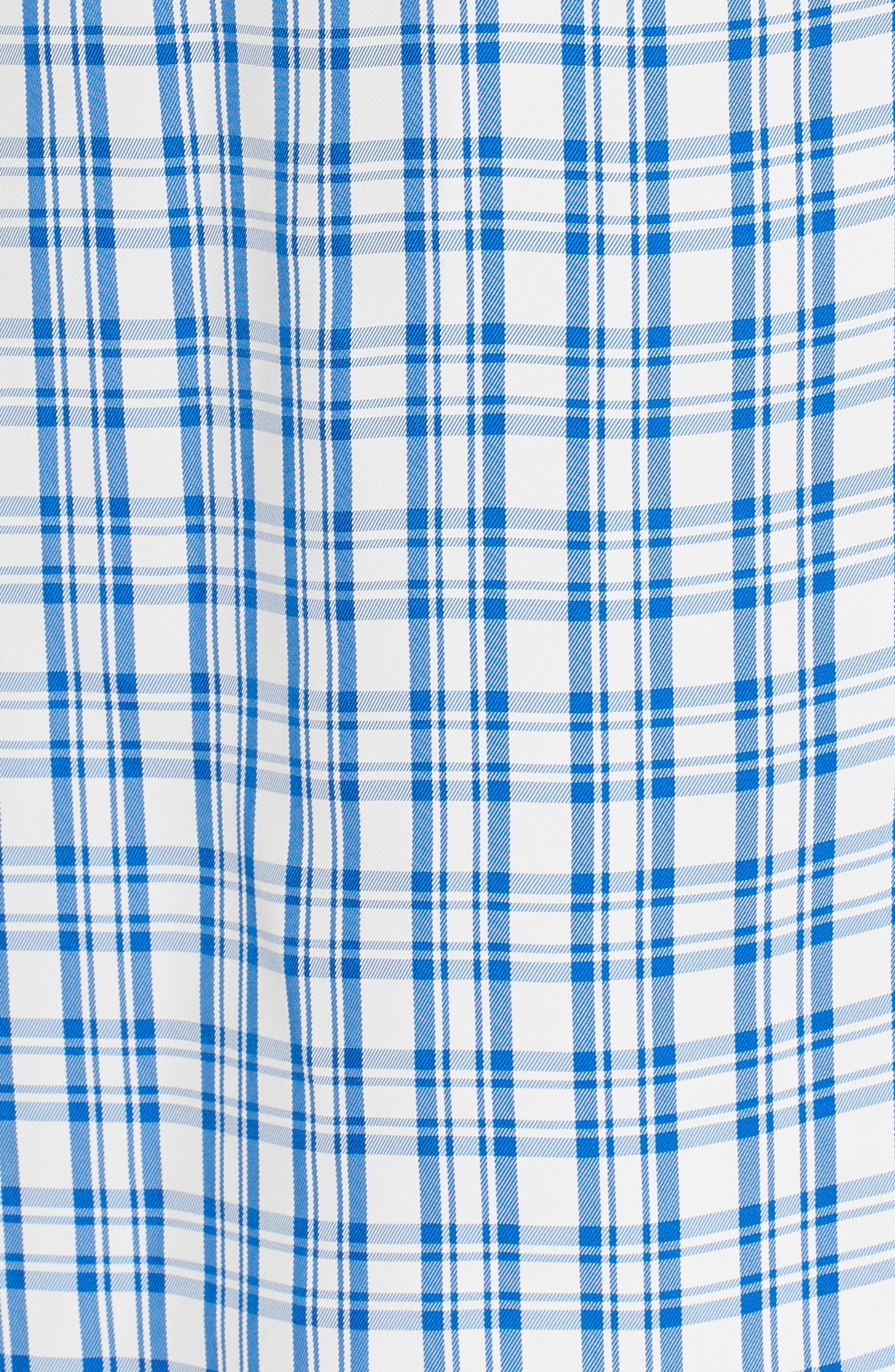 Ruched Check Midi Dress,                             Alternate thumbnail 5, color,                             Blue Sodalite Kasie Check