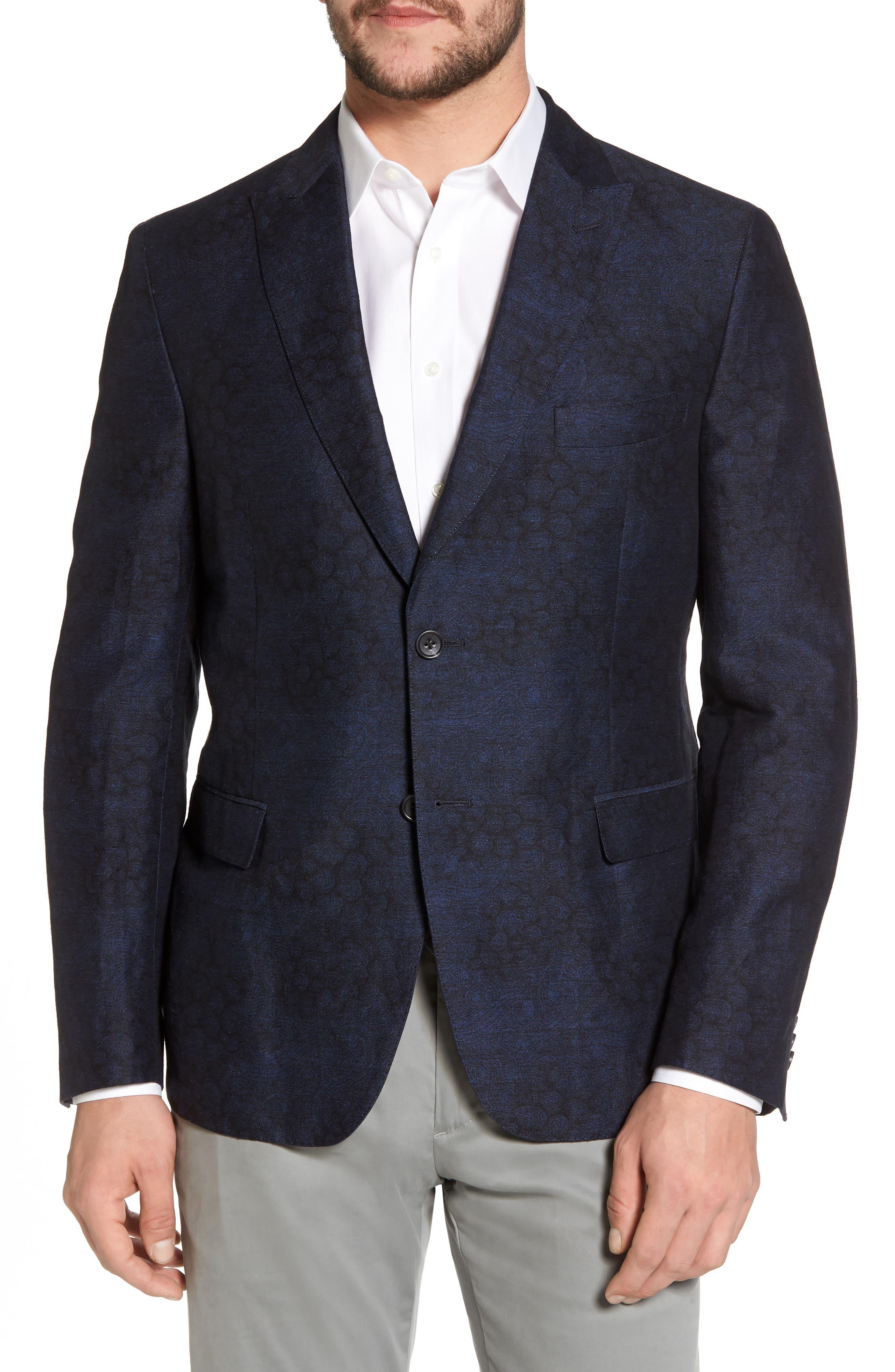 Slim Fit Patterned Linen Blend Sport Coat,                         Main,                         color, Indigo Blue