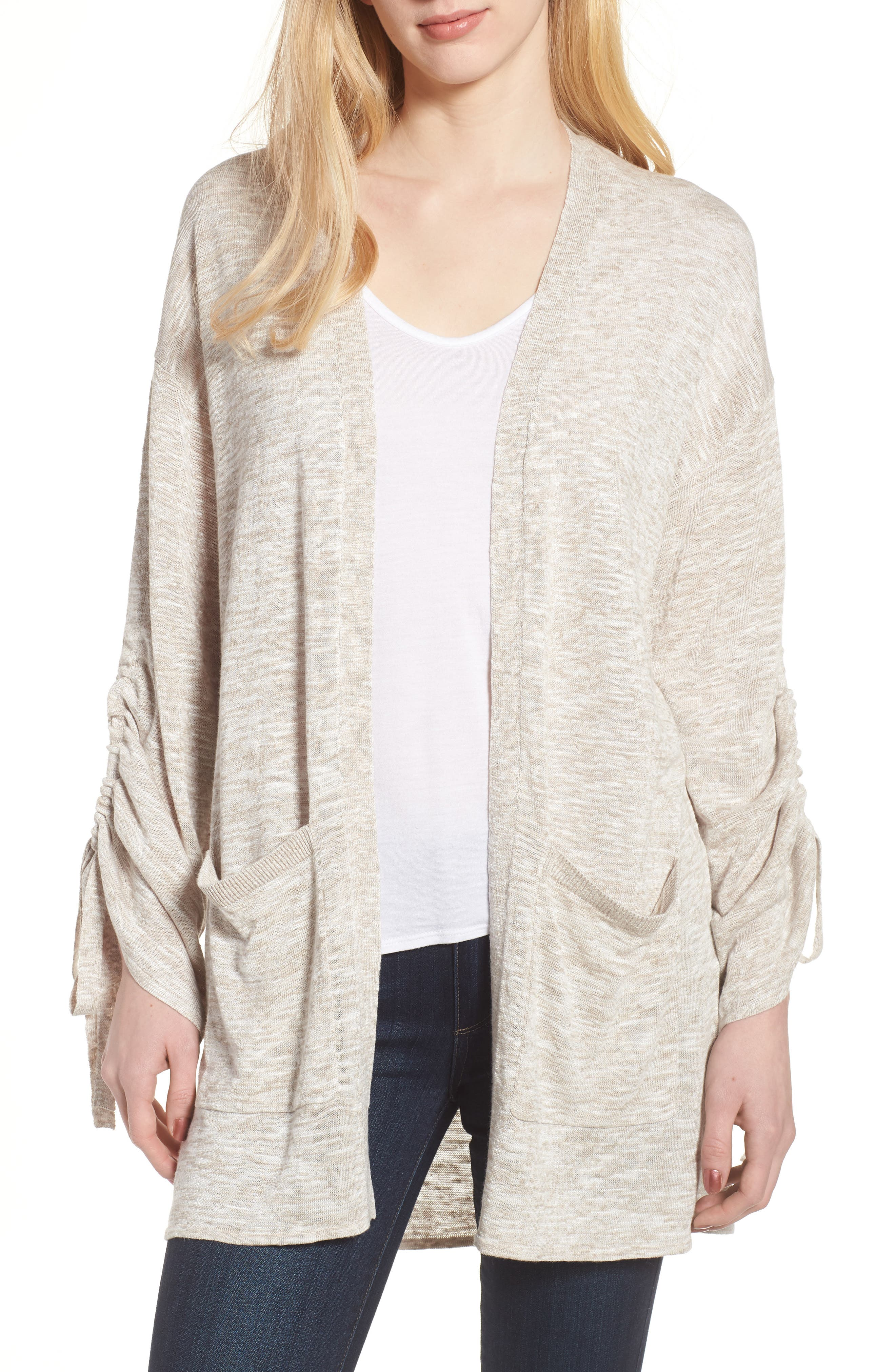 Ruched Sleeve Cardigan,                             Main thumbnail 1, color,                             Beige Linen- White Slubs