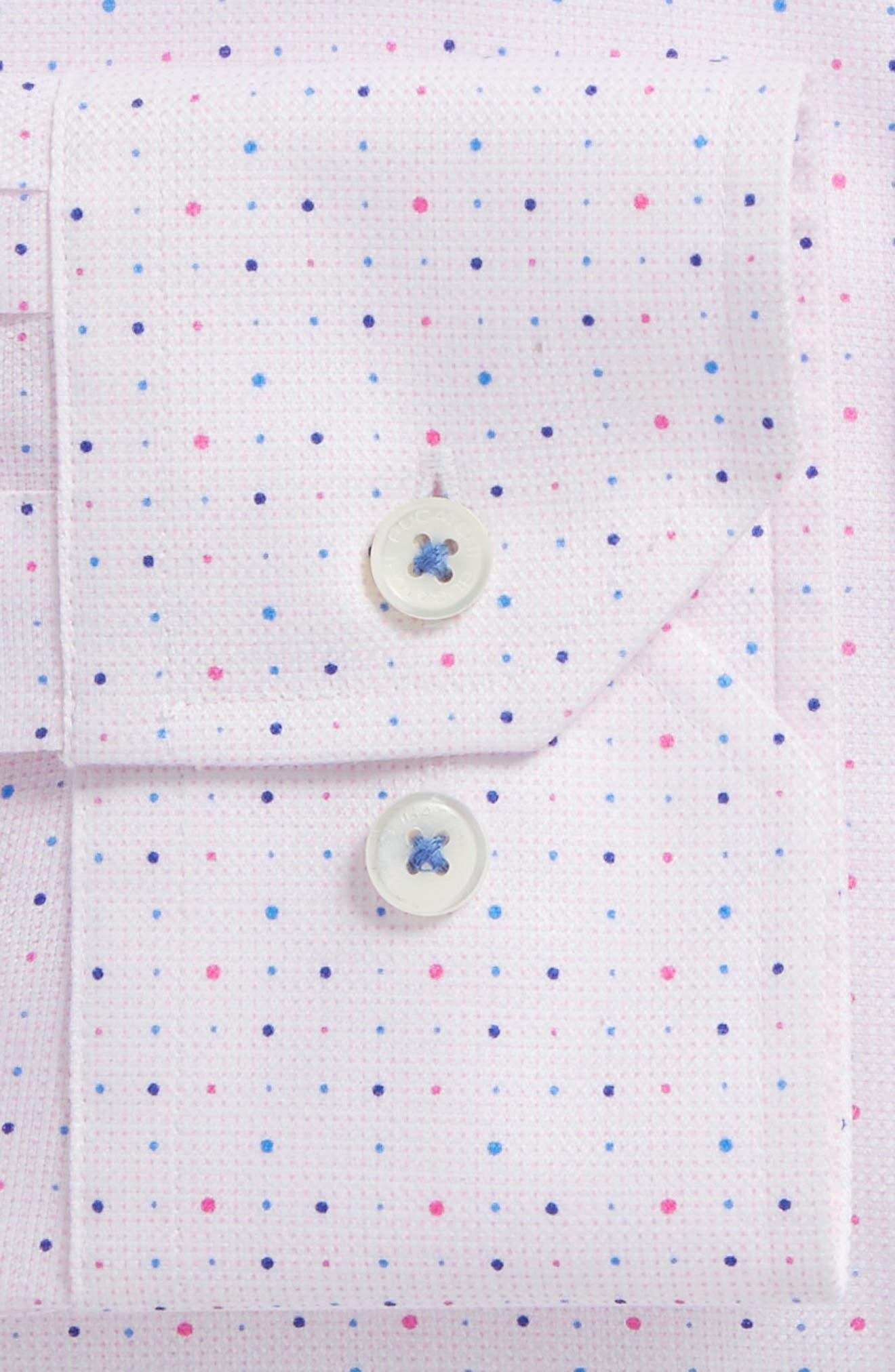 Trim Fit Dot Dress Shirt,                             Alternate thumbnail 2, color,                             Pink