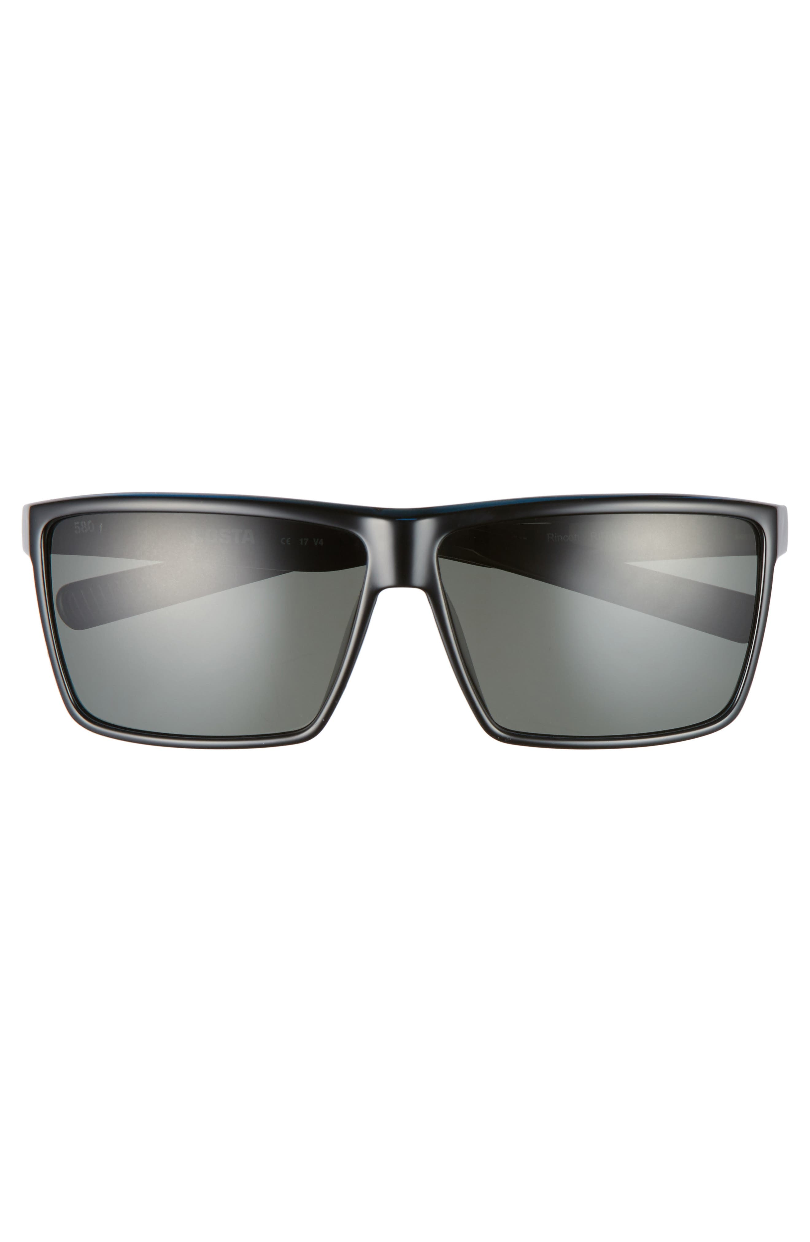 Rincon 60mm Polarized Sunglasses,                             Alternate thumbnail 2, color,                             Shiny Black/ Grey