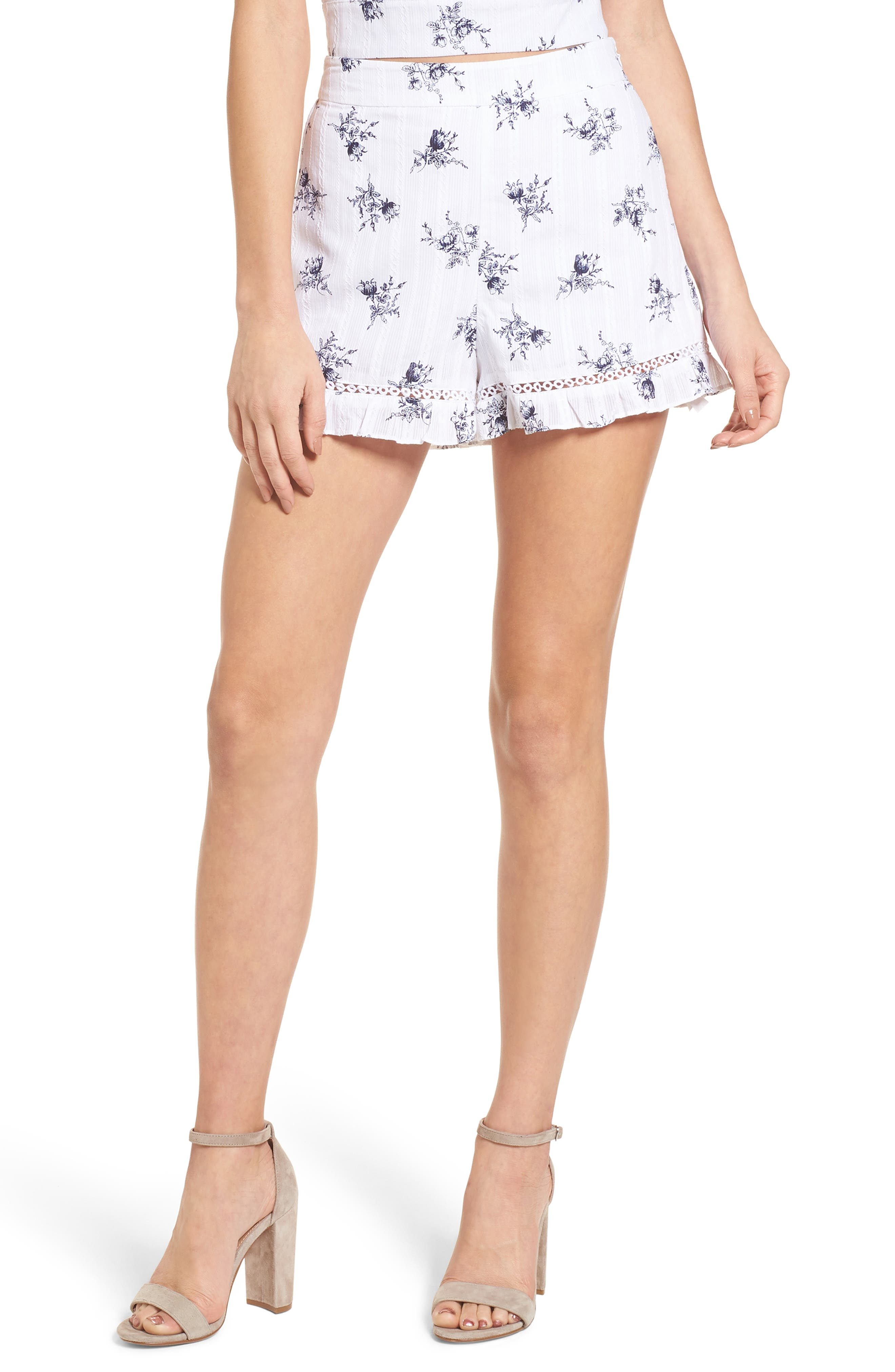 Ruffle Shorts,                         Main,                         color, White/ Navy