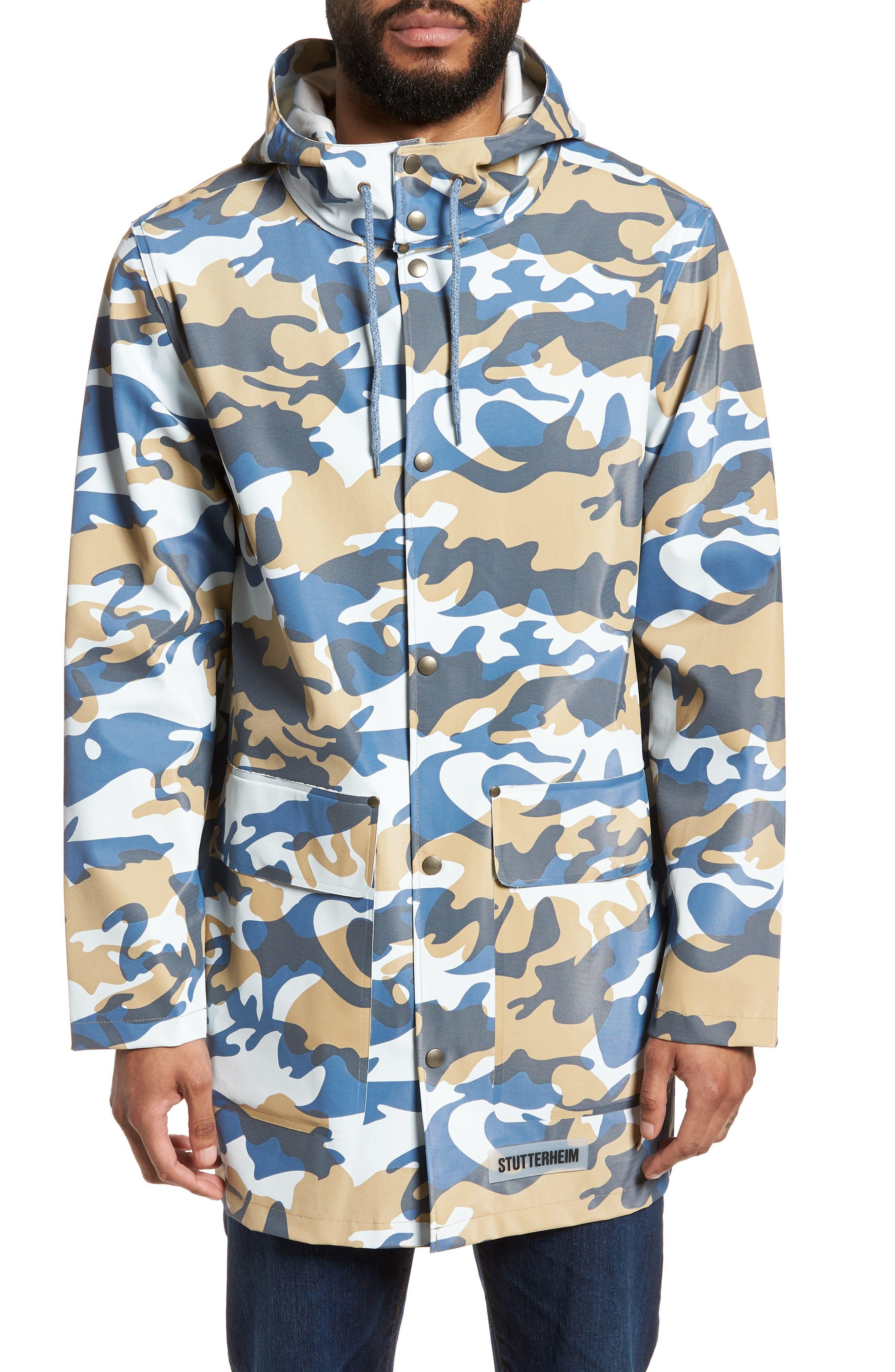 Stockholm Waterproof Hooded Raincoat,                             Main thumbnail 1, color,                             Camo