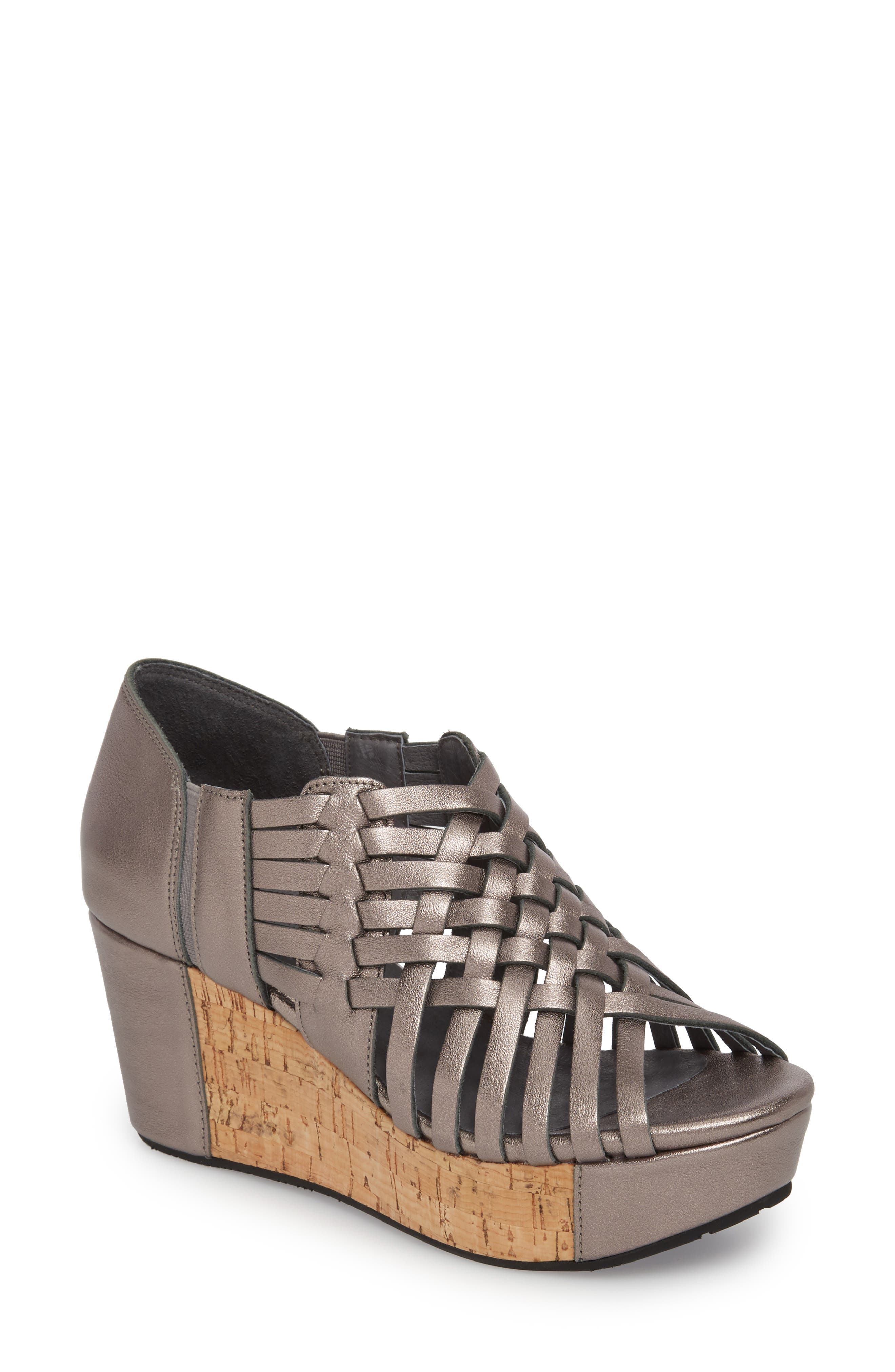 Web Woven Wedge,                         Main,                         color, Gunmetal Leather
