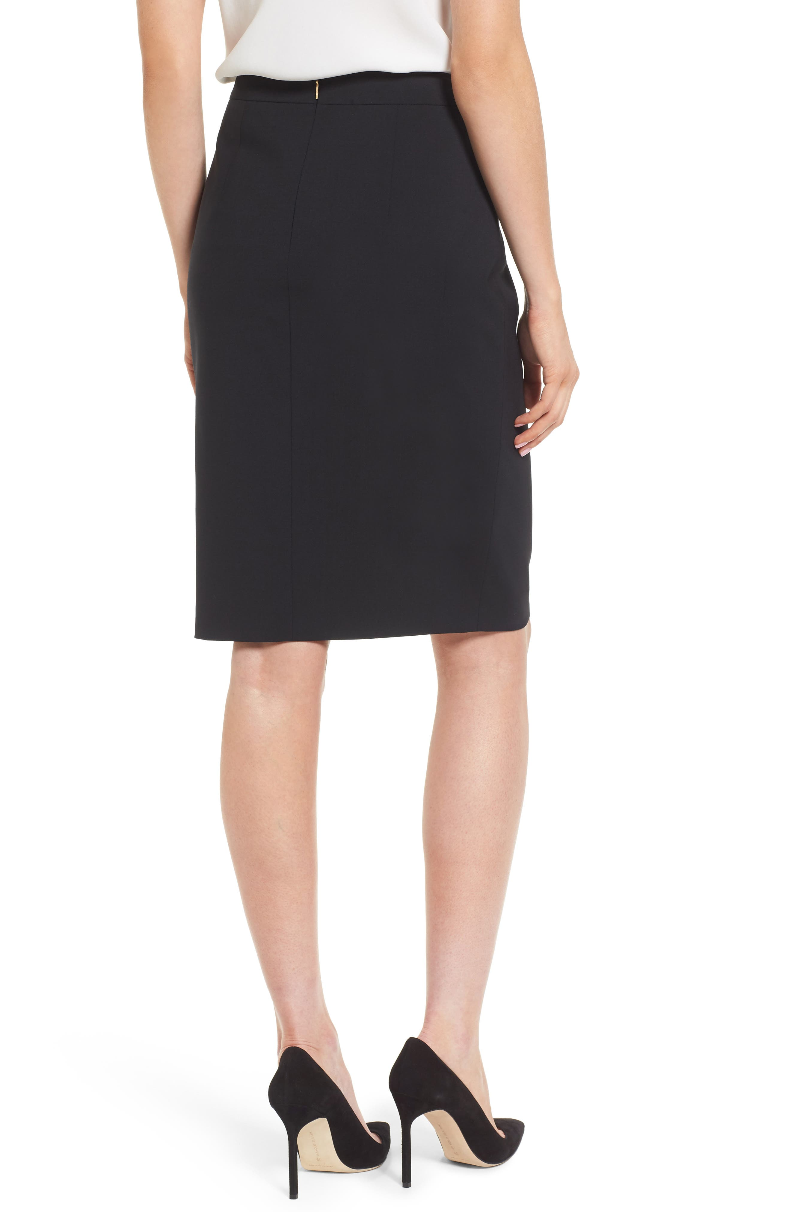 Volania Stretch Wool Pencil Skirt,                             Alternate thumbnail 2, color,                             Black