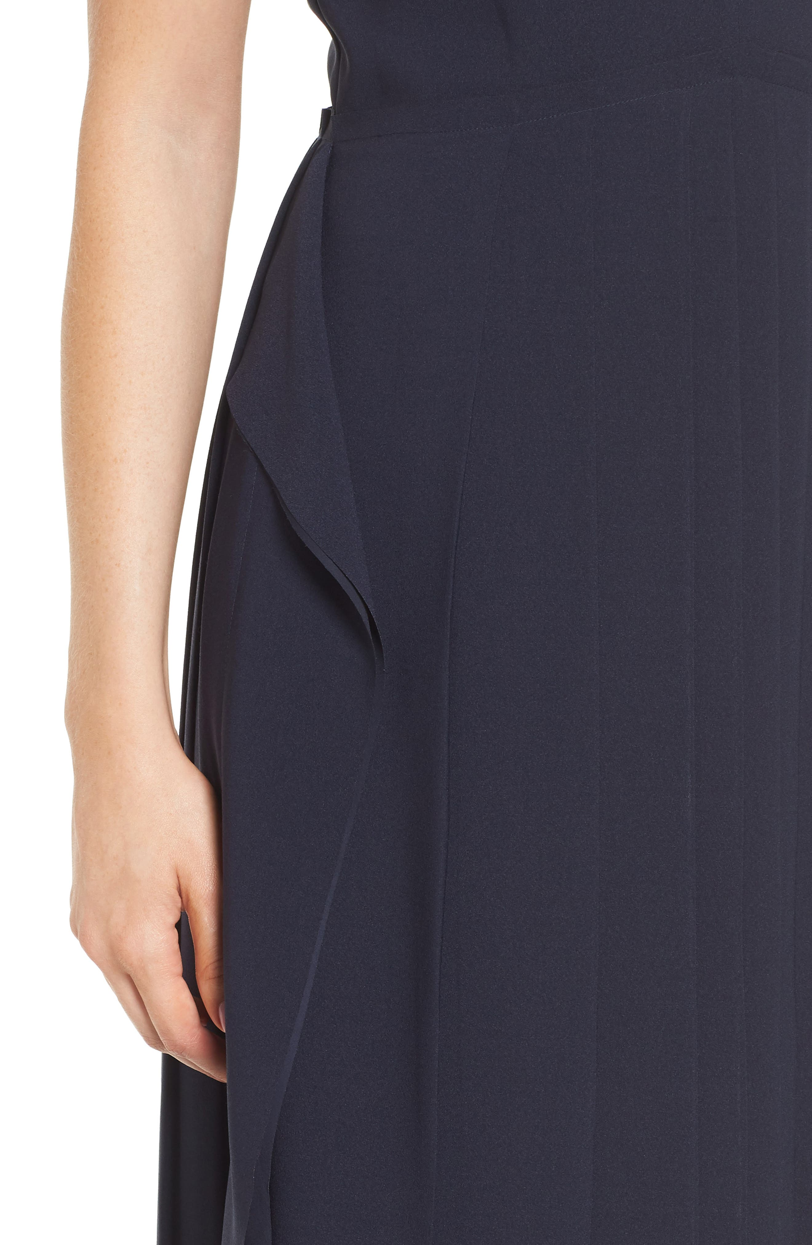 Pleated Fit & Flare Dress,                             Alternate thumbnail 4, color,                             Navy Night