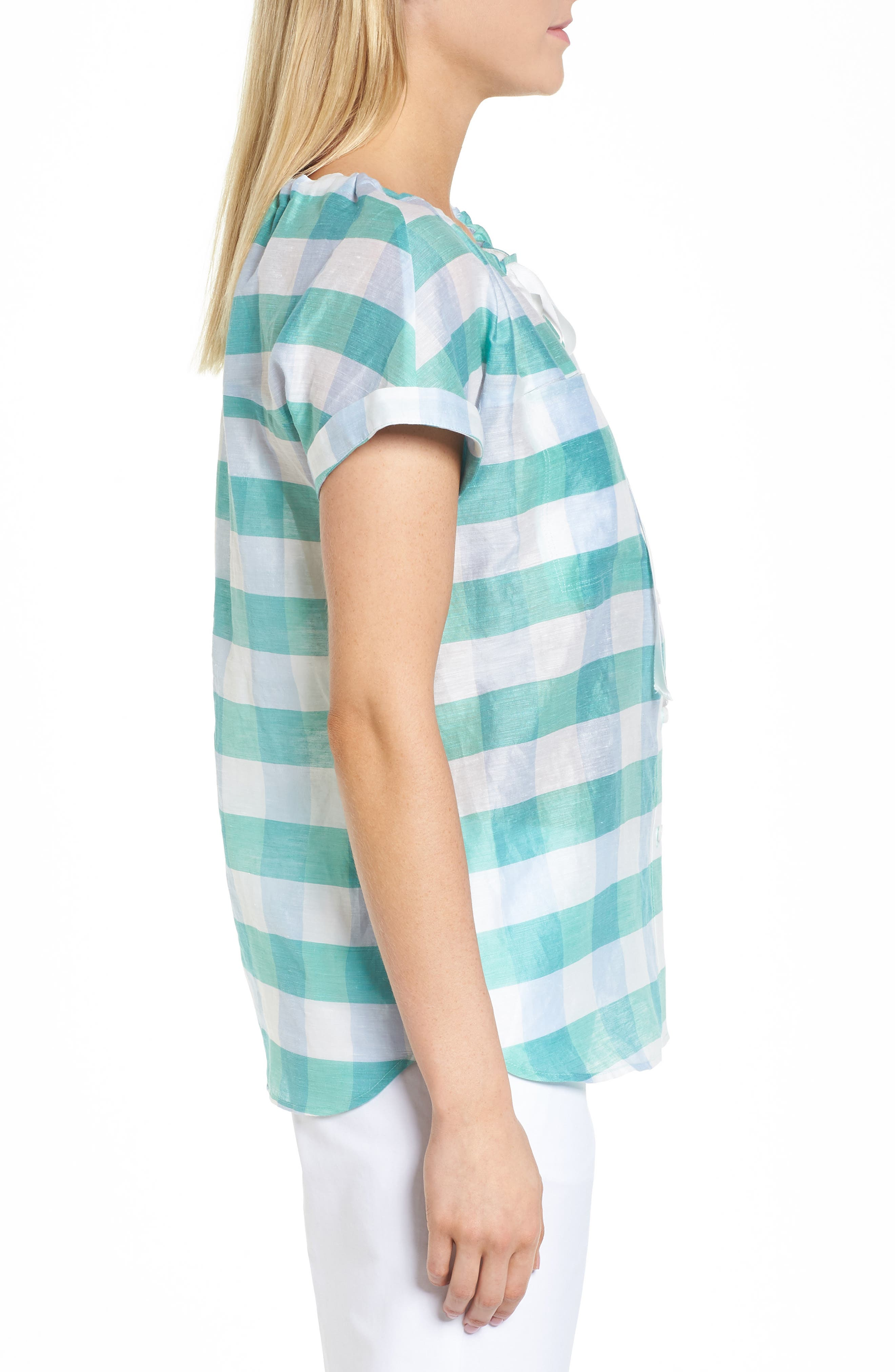 Tie Neck Check Top,                             Alternate thumbnail 3, color,                             Green- Blue Feather Check