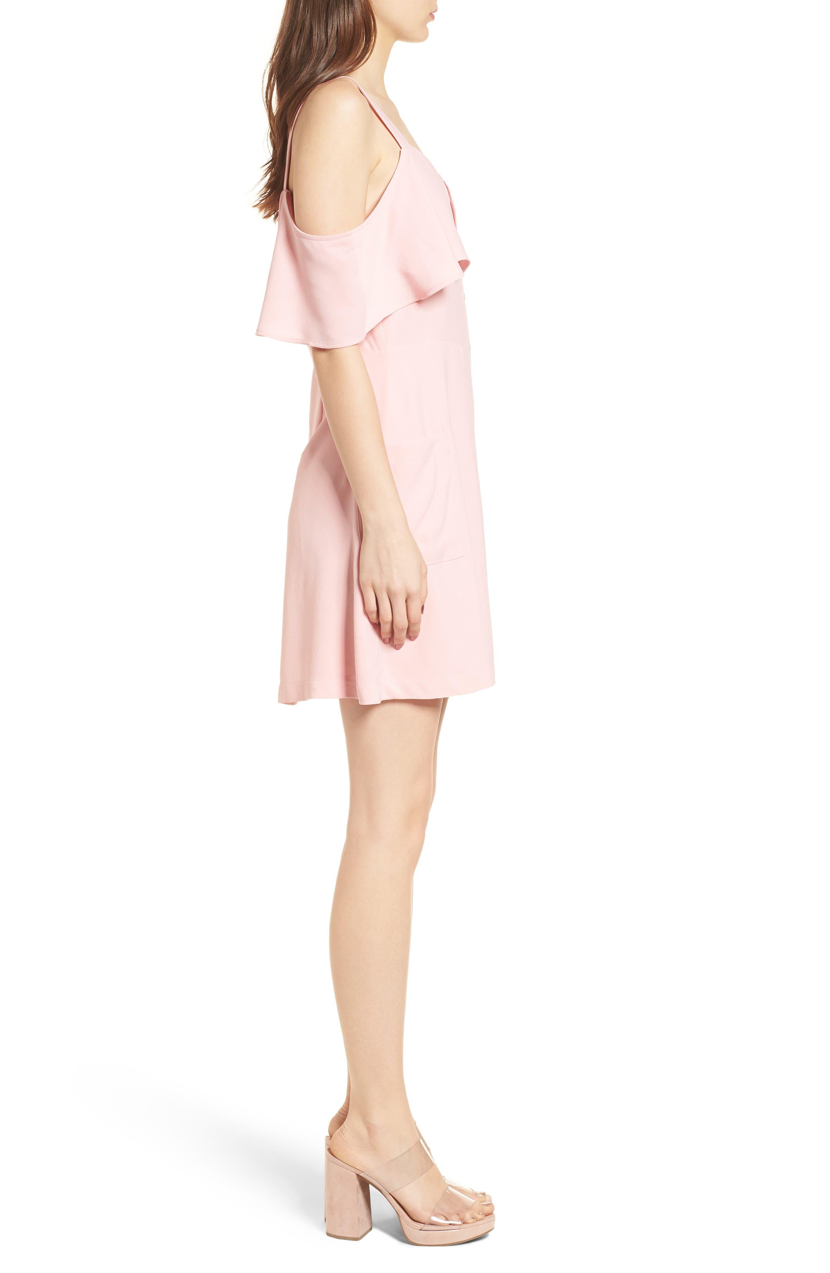 Cold Shoulder Dress,                             Alternate thumbnail 3, color,                             Peach