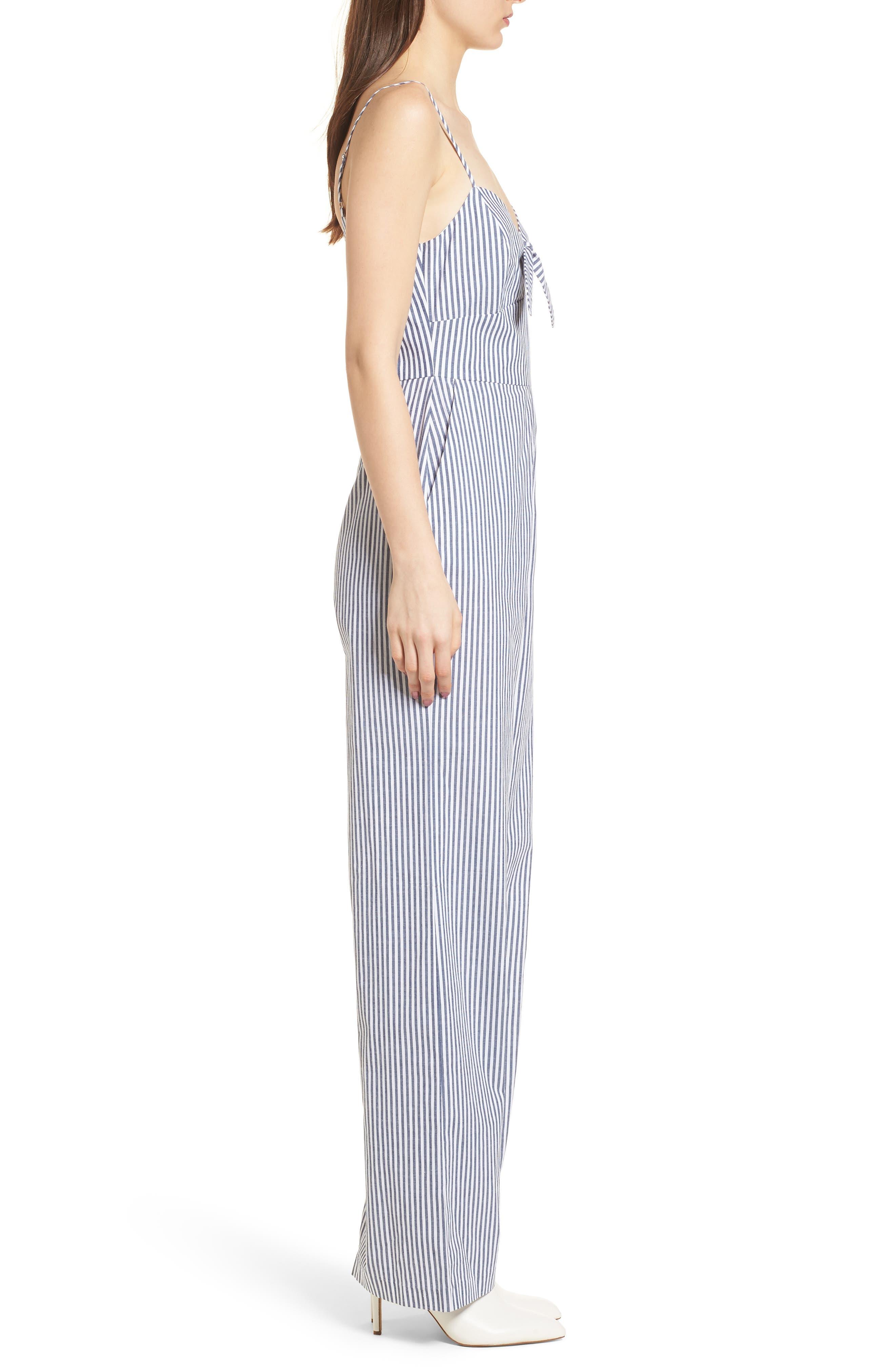 Tie Front Jumpsuit,                             Alternate thumbnail 3, color,                             Blue-White Stripe