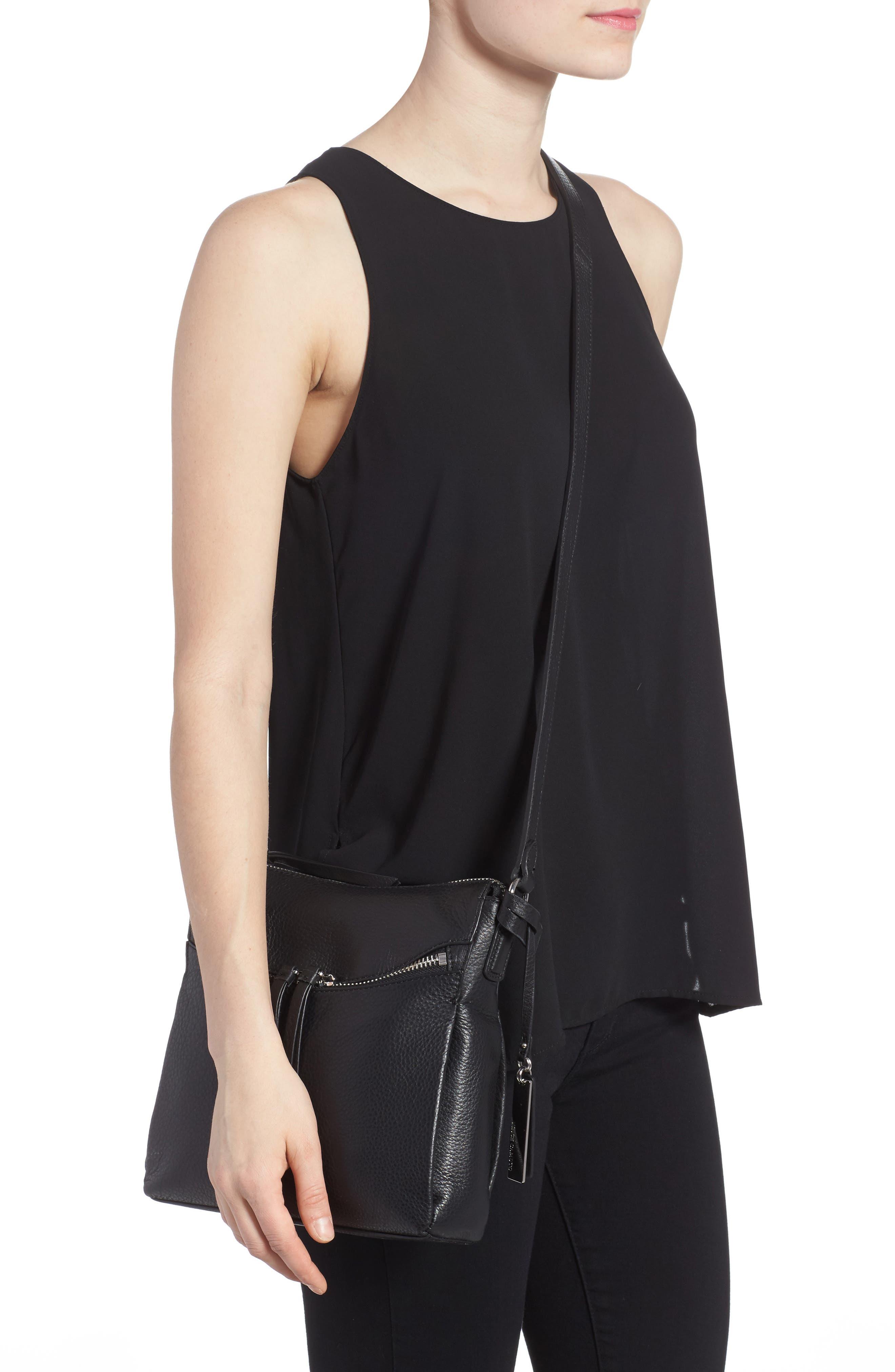 Staja Leather Crossbody Bag,                             Alternate thumbnail 3, color,                             Nero