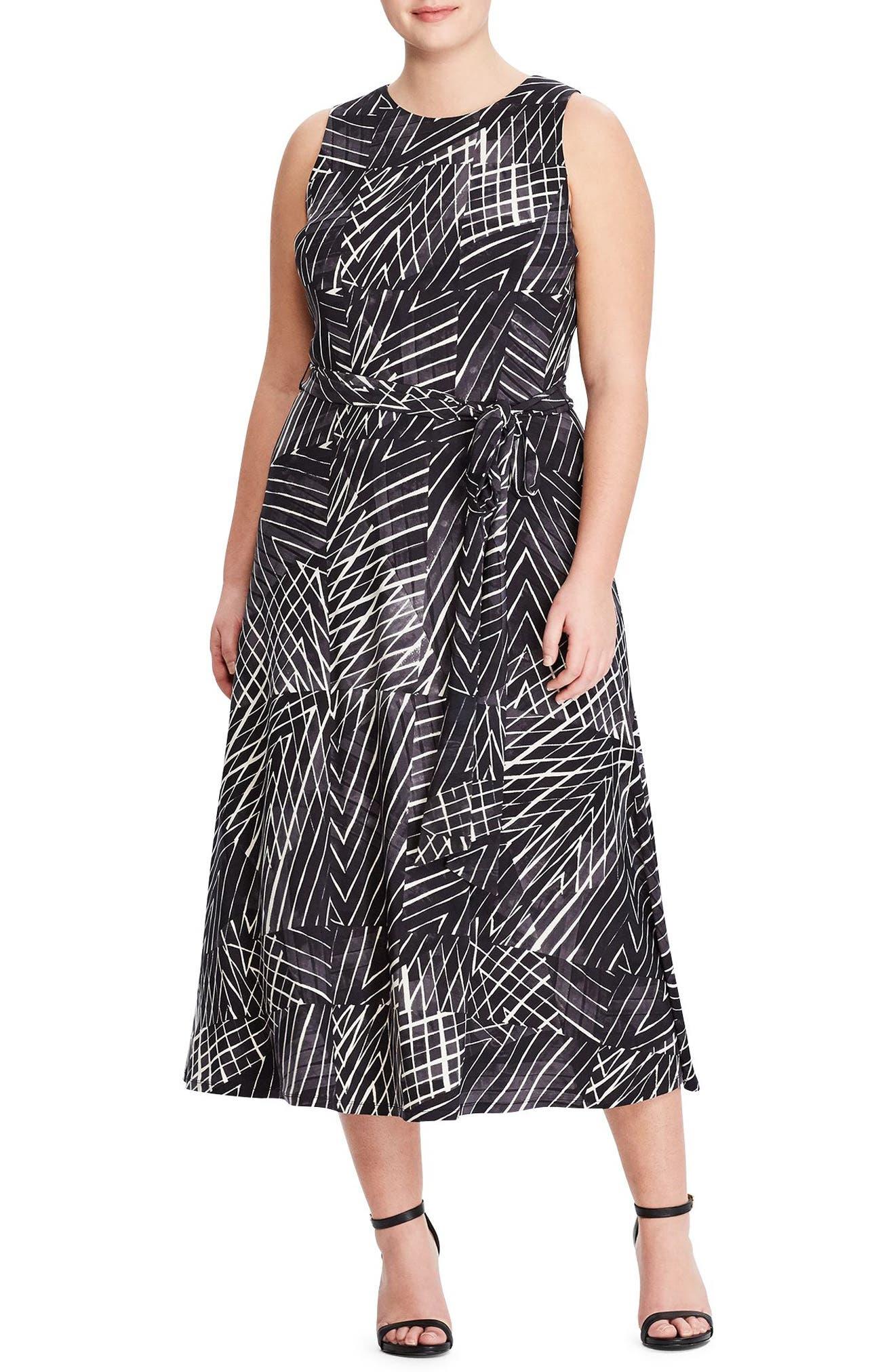Lauren Ralph Lauren Stripe Midi Dress (Plus Size)