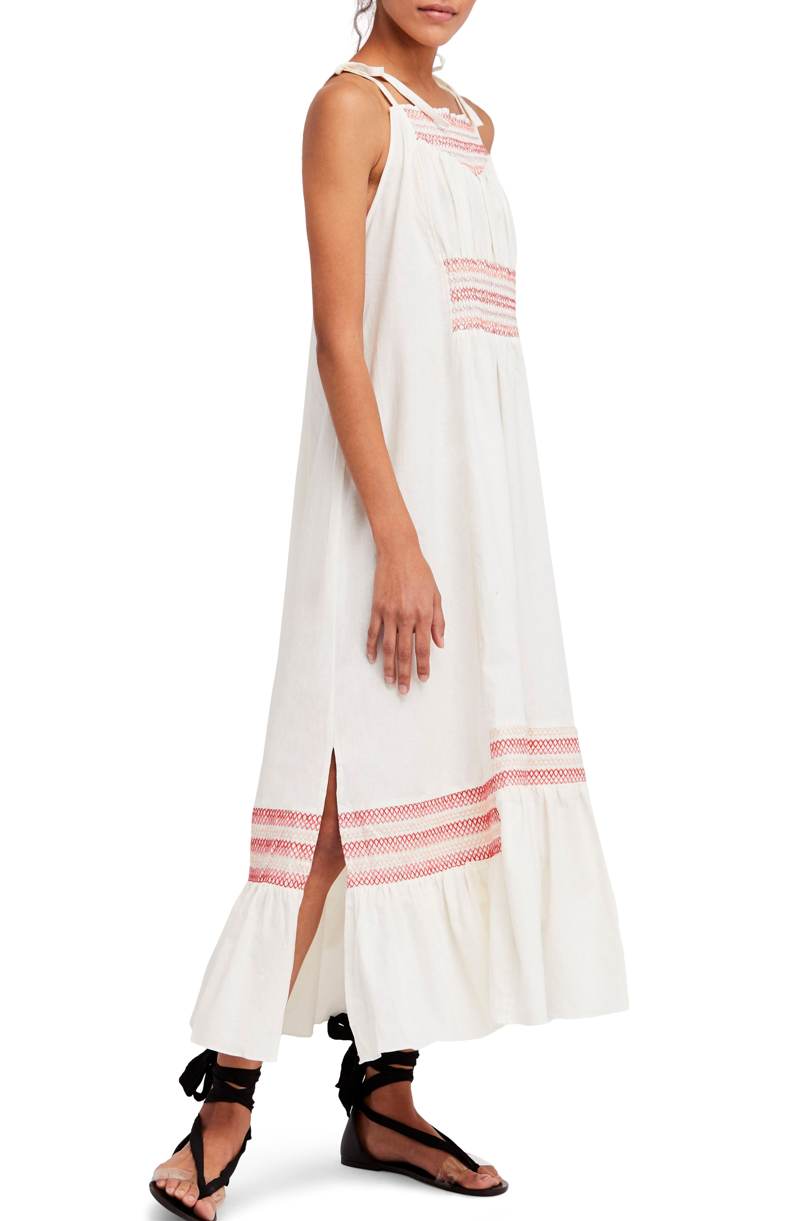 Another Love Smocked Midi Dress,                         Main,                         color, Ivory