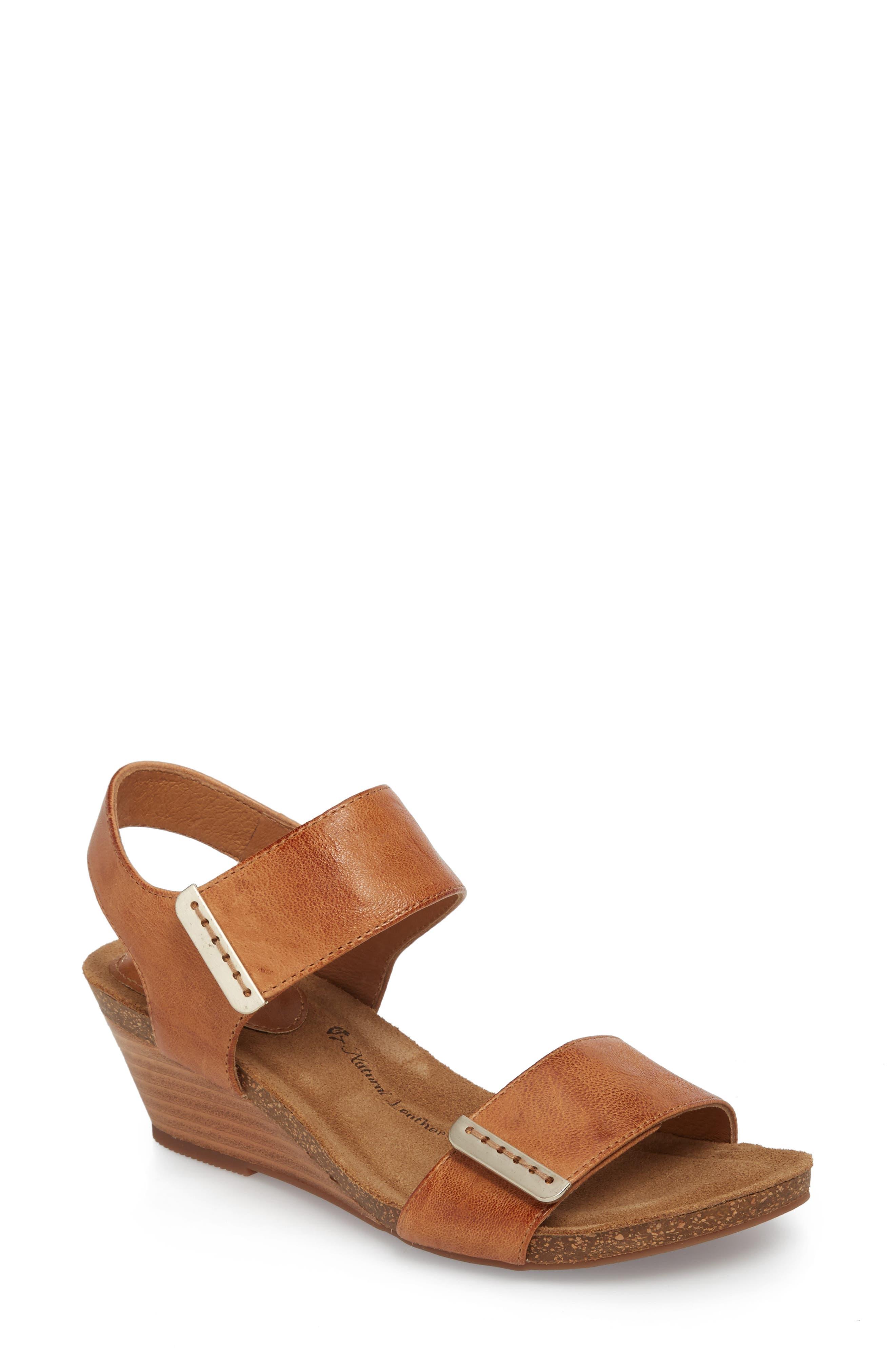 Verdi Wedge Sandal,                         Main,                         color, Luggage Leather