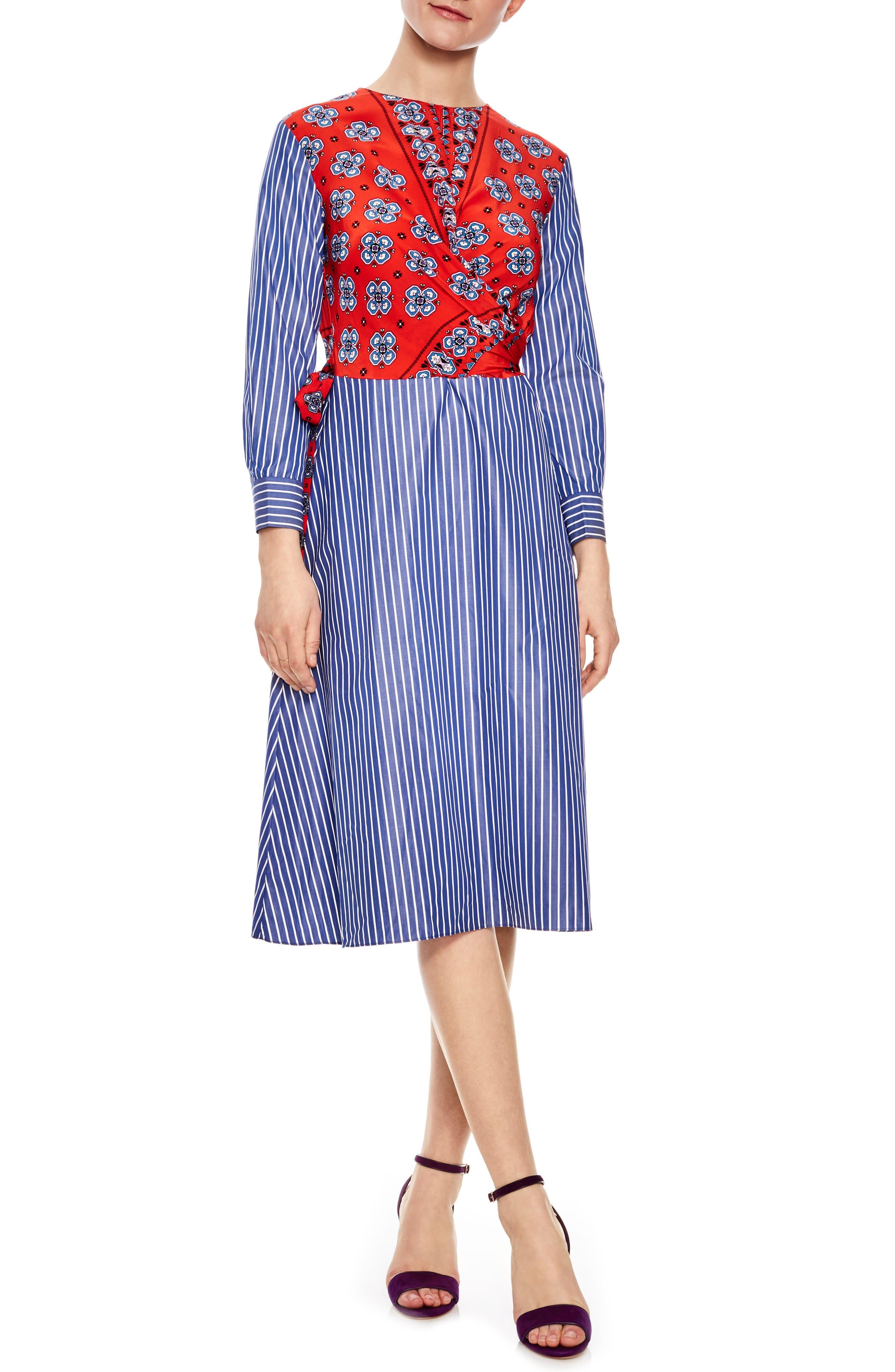 Mixed Print Cotton & Silk Faux Wrap Dress,                             Main thumbnail 1, color,                             Scarlet Red