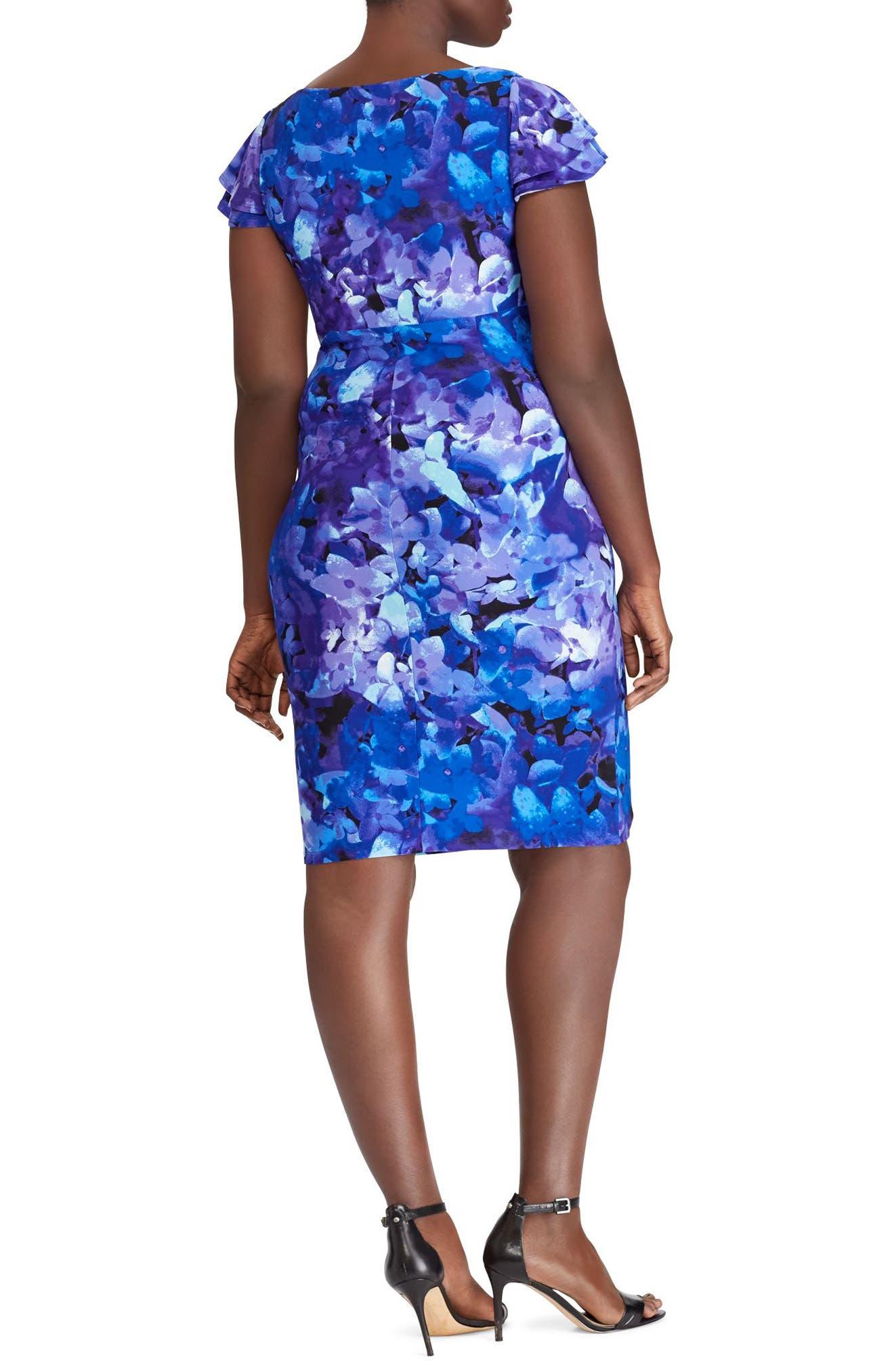 Floral Print Jersey Dress,                             Alternate thumbnail 2, color,                             Blue-Purple-Multi