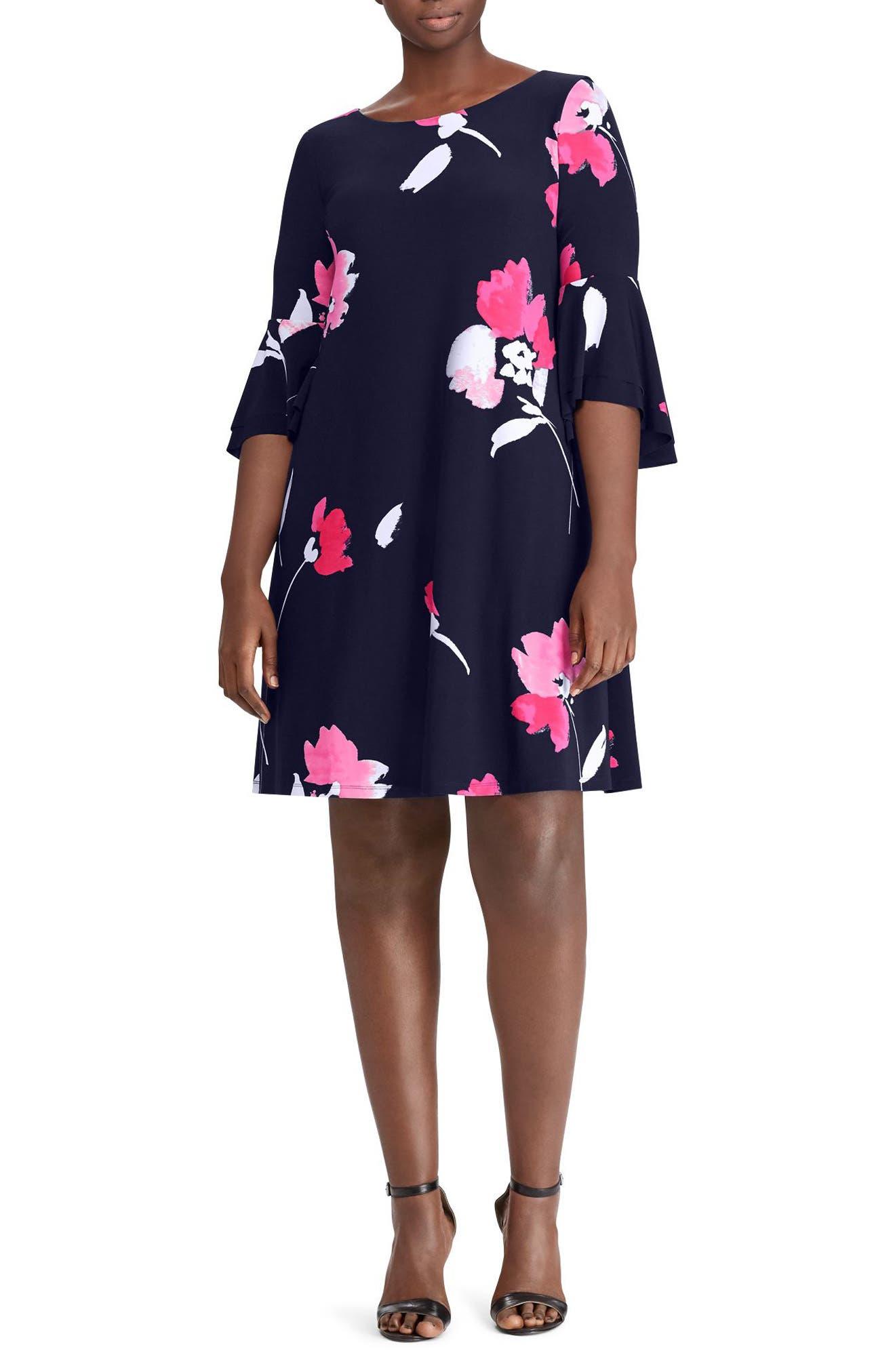 Lauren Ralph Lauren Tycenda Galleria Floral Bell Sleeve Dress (Plus Size)